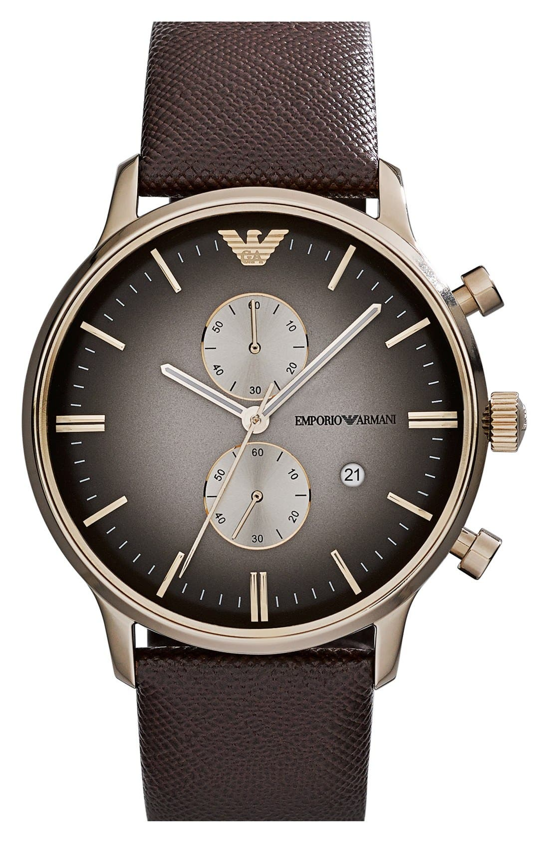 Main Image - Emporio Armani Chronograph Leather Strap Watch, 43mm