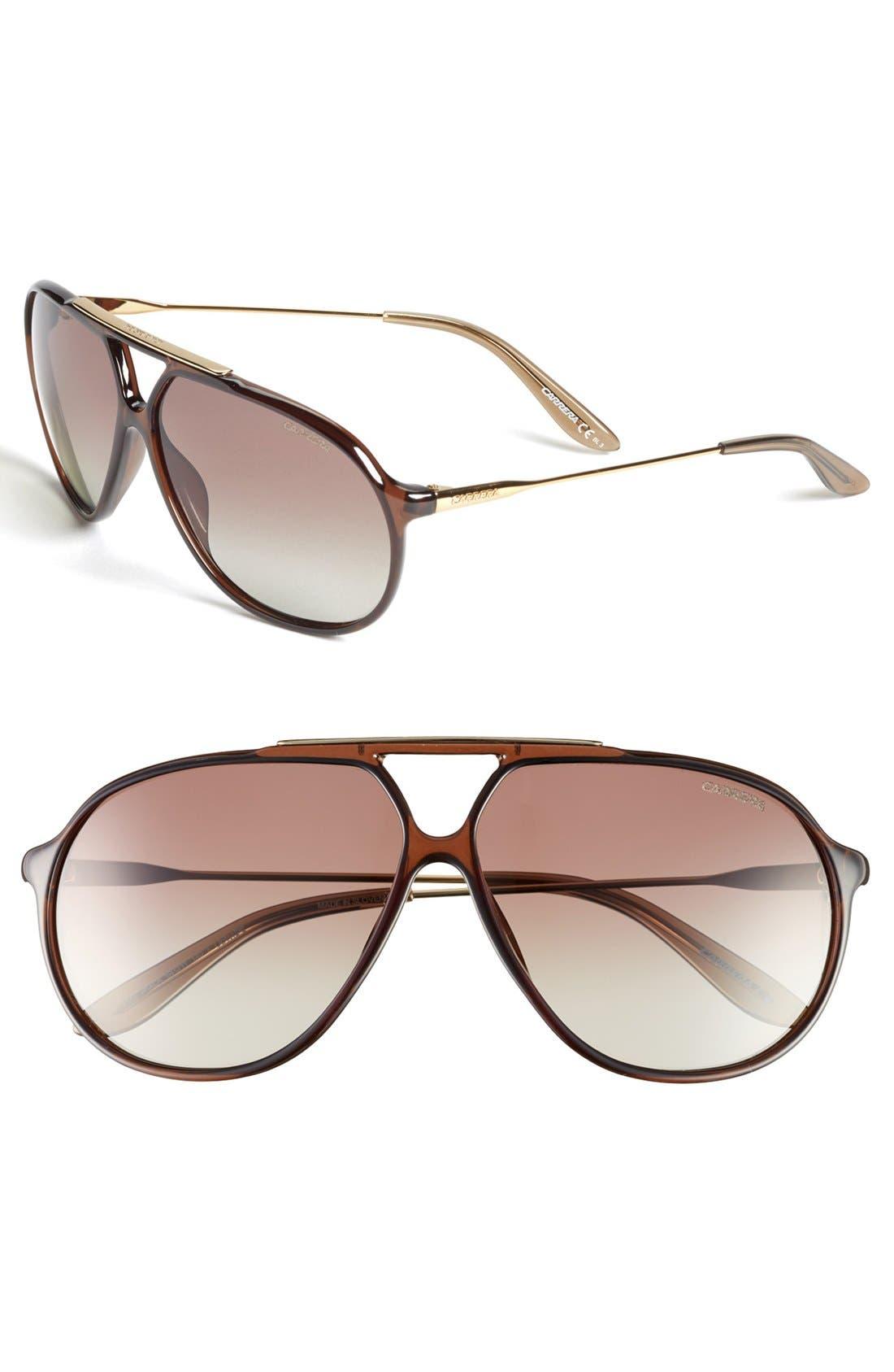 Alternate Image 1 Selected - Carrera Eyewear 64mm Polarized Aviator Sunglasses