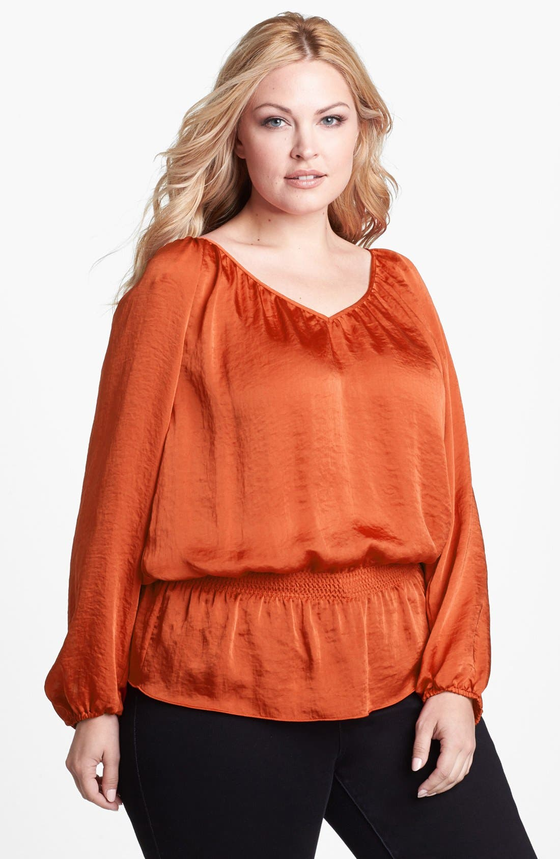 Alternate Image 1 Selected - MICHAEL Michael Kors Smocked Waist Peasant Blouse (Plus Size)