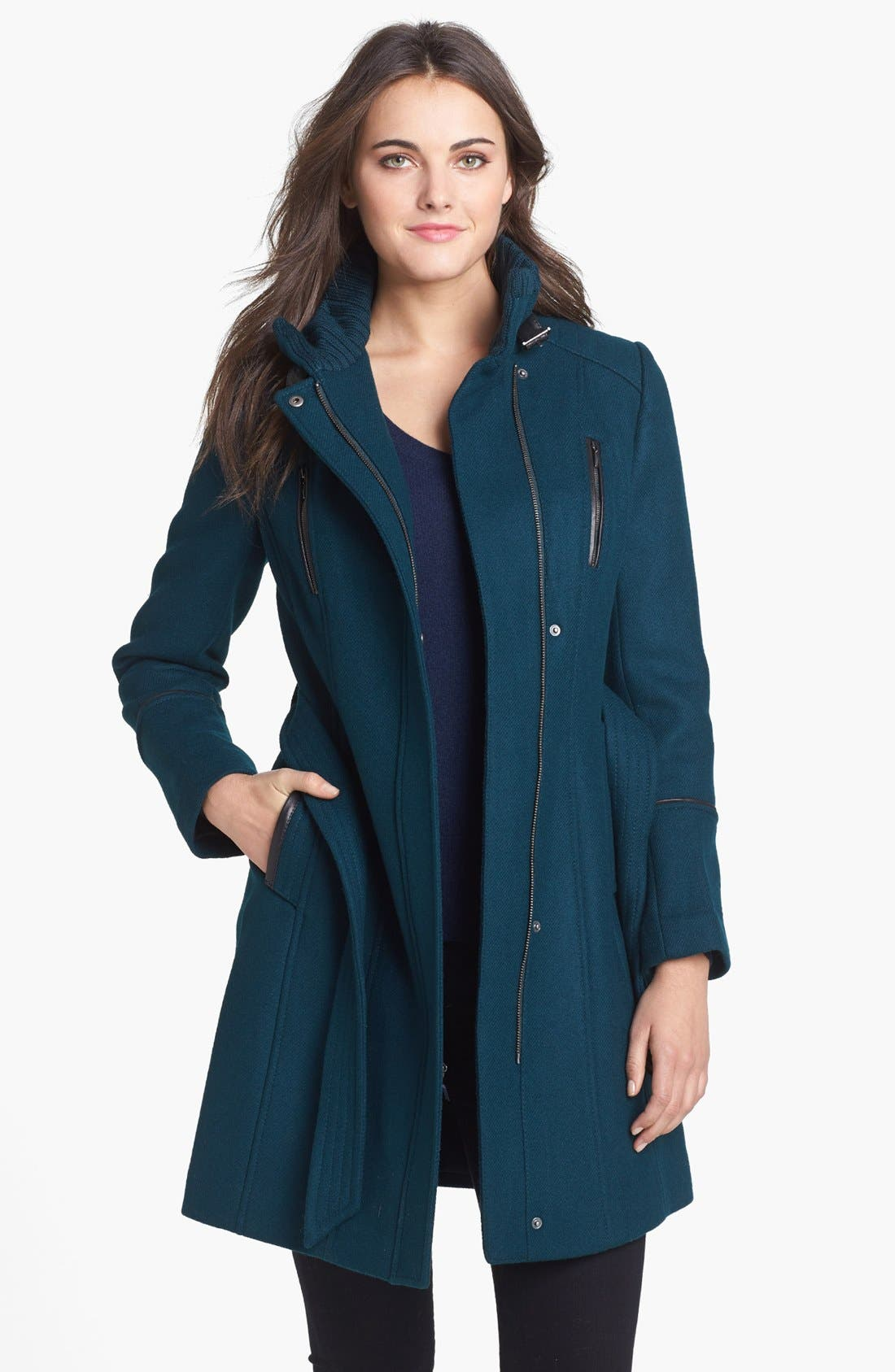Alternate Image 1 Selected - Cole Haan Leather Trim Wool Blend Military Coat