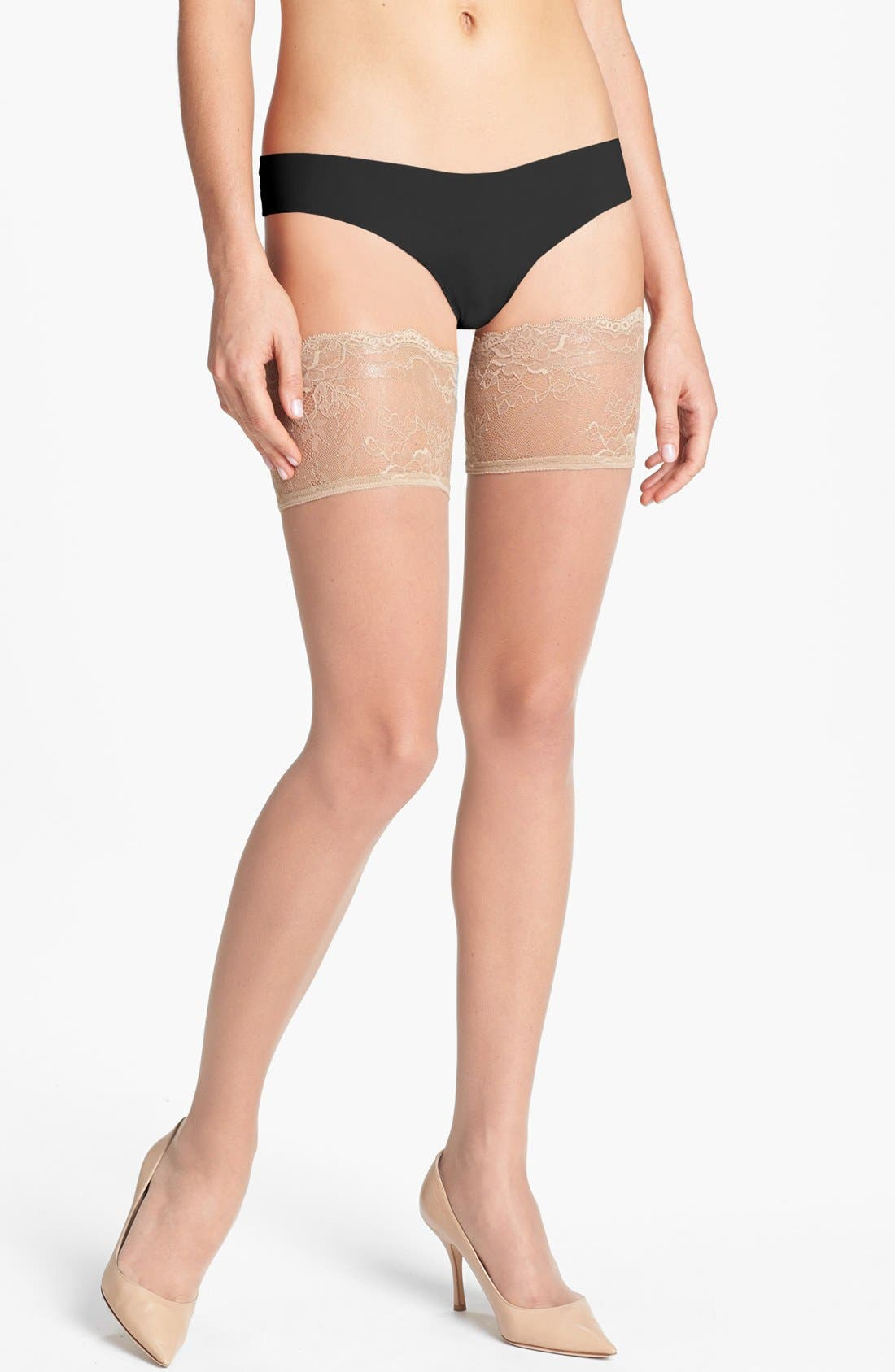 Donna Karan Lace Top Stay-Up Stockings,                         Main,                         color, Nude