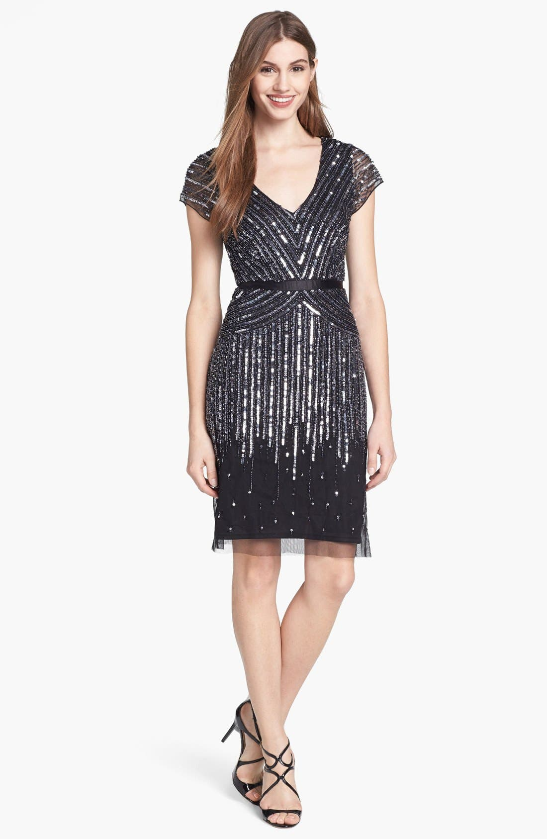 Main Image - Adrianna Papell Embellished Mesh Dress (Regular & Petite)