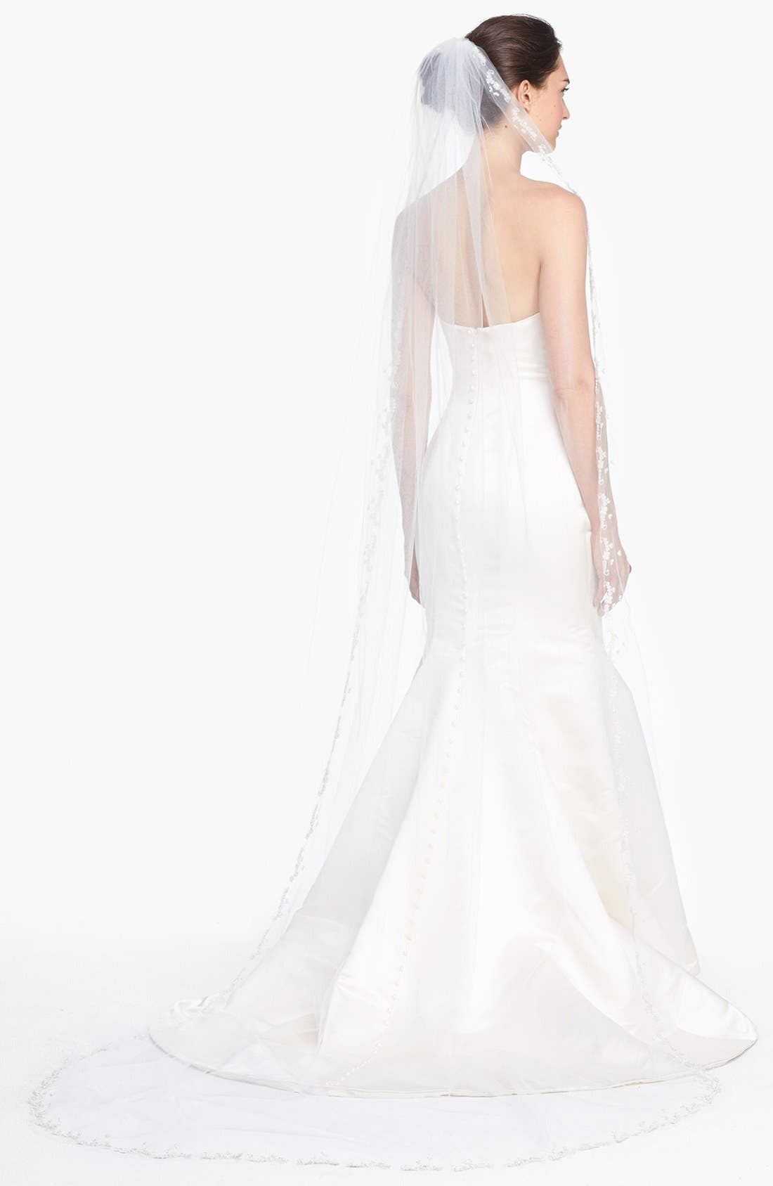 'Mary Kate' Embroidered Cathedral Veil,                         Main,                         color, Ivory