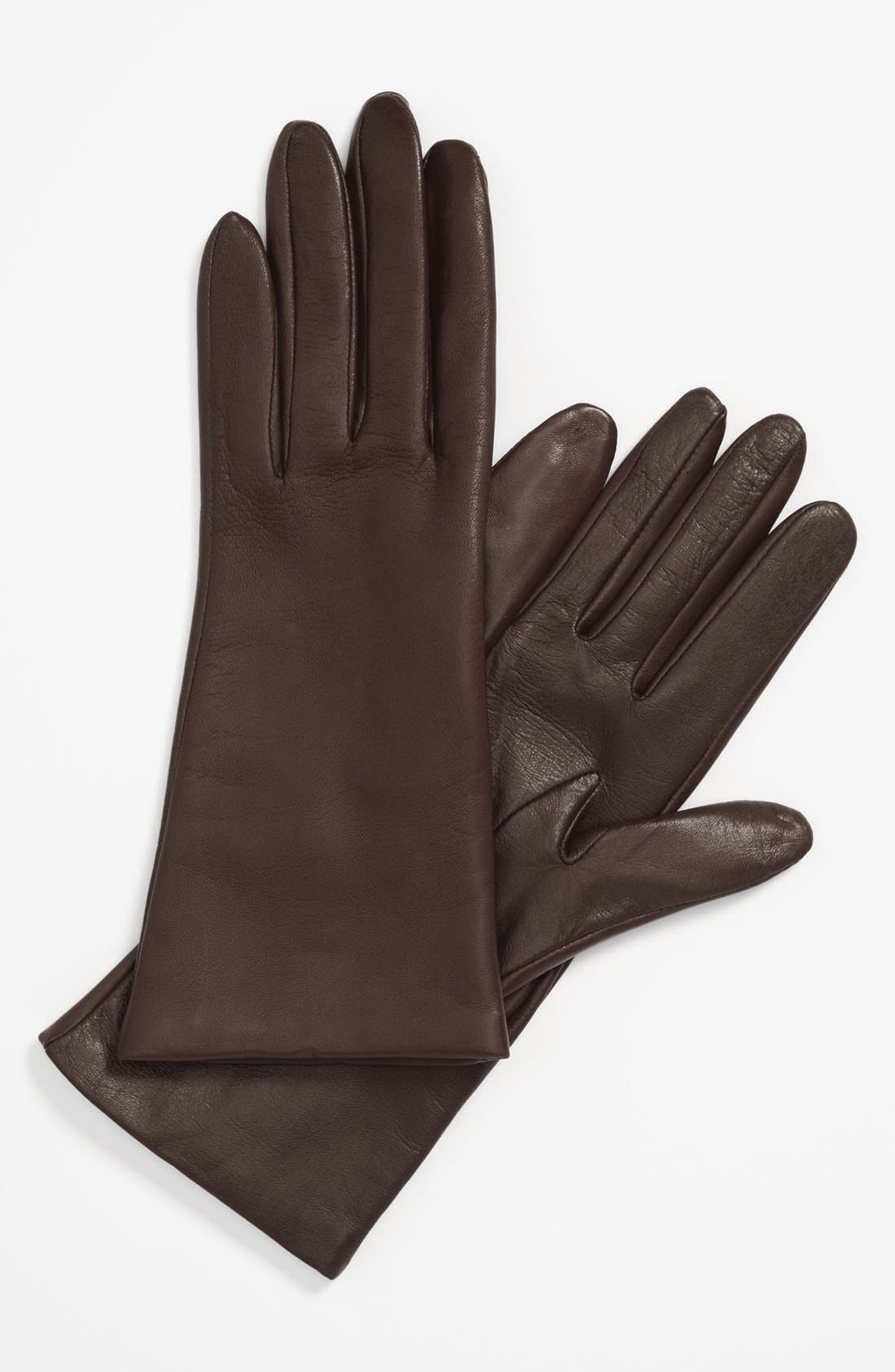 'Basic Tech' Cashmere Lined Leather Gloves,                         Main,                         color, Brown