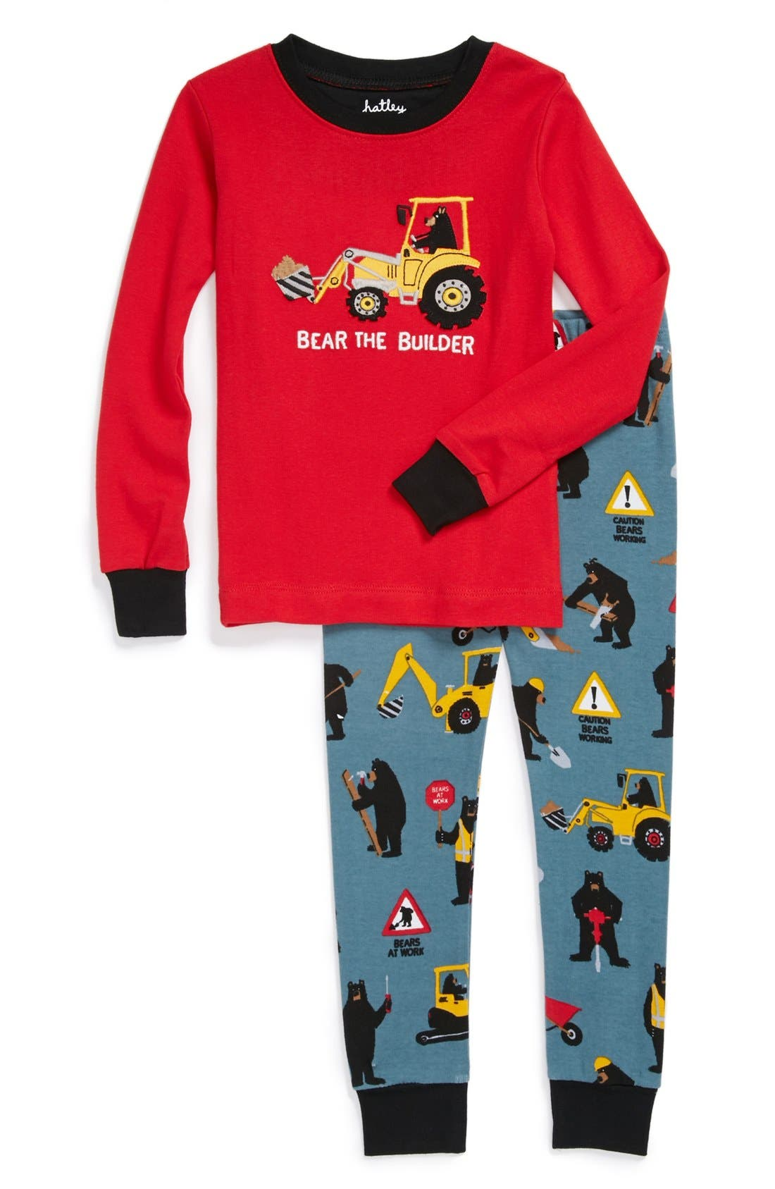 Main Image - Hatley 'Bears at Work' Two-Piece Fitted Pajamas (Toddler Boys)
