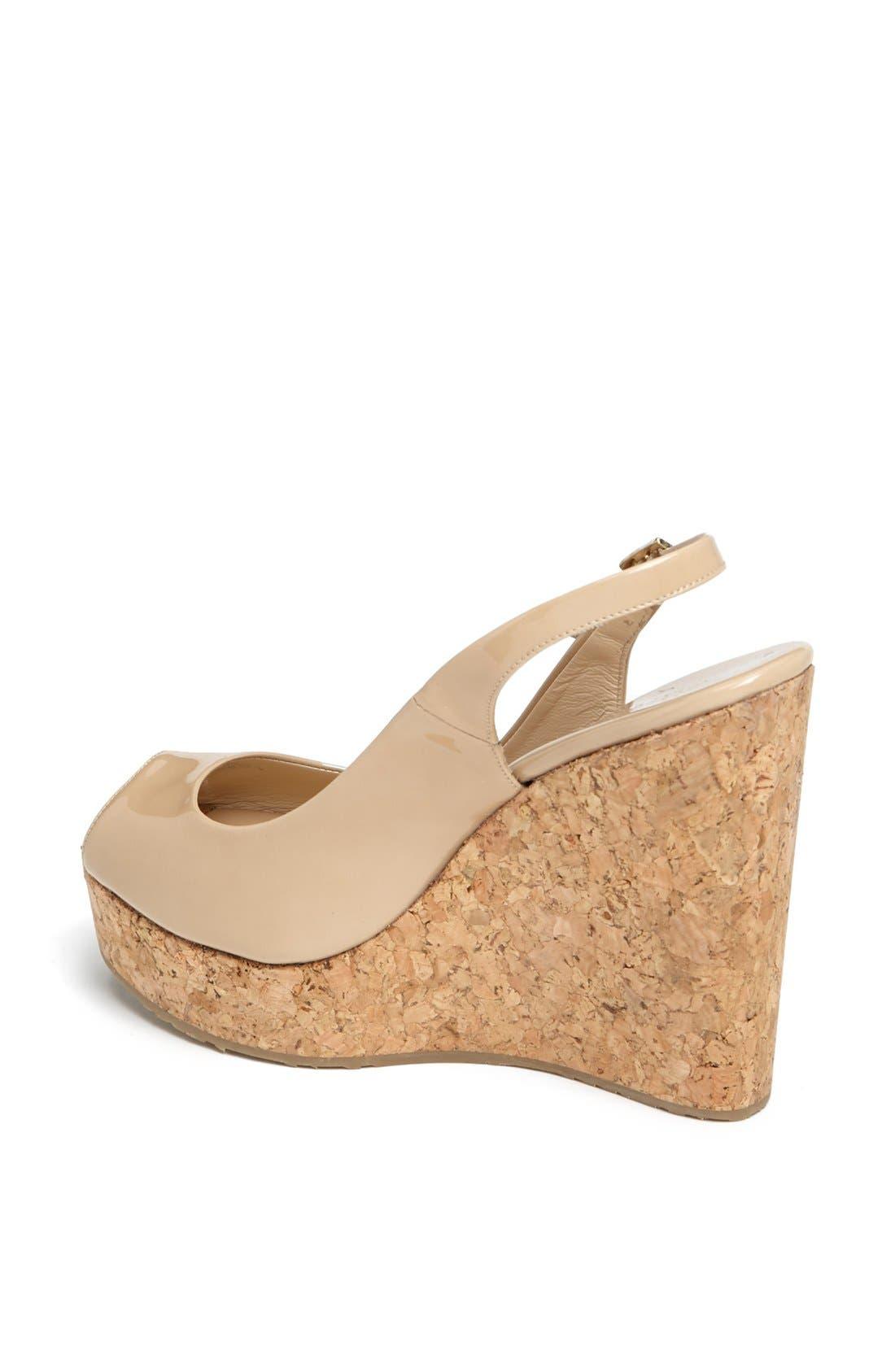 'Prova' Cork Slingback Wedge Sandal,                             Alternate thumbnail 2, color,                             Nude