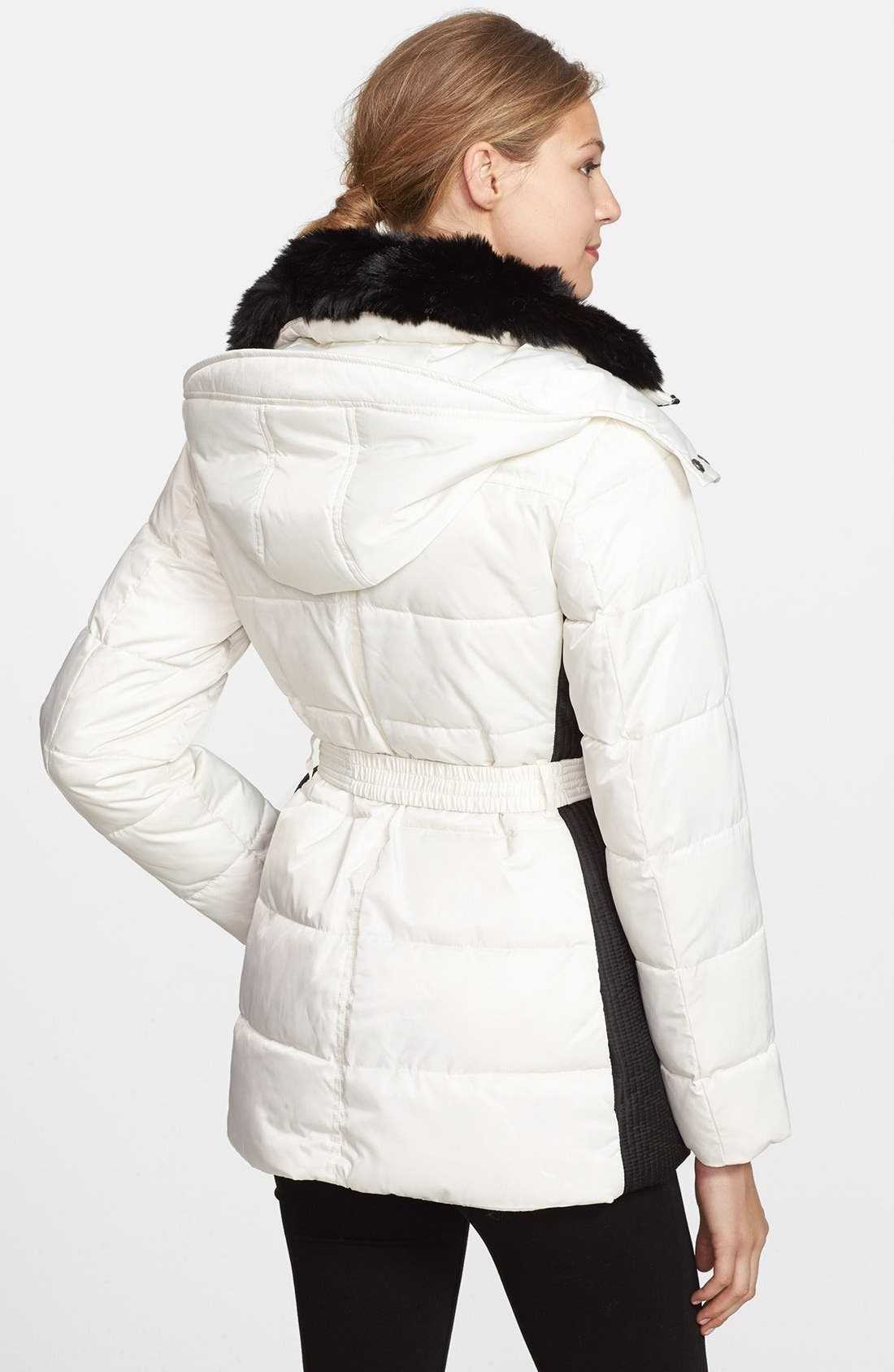 Alternate Image 2  - Vince Camuto Belted Puffer Coat with Faux Fur Collar