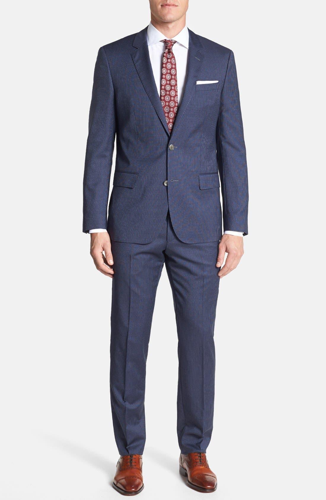 Alternate Image 1 Selected - BOSS HUGO BOSS 'Hutson/Gander' Trim Fit Stripe Suit