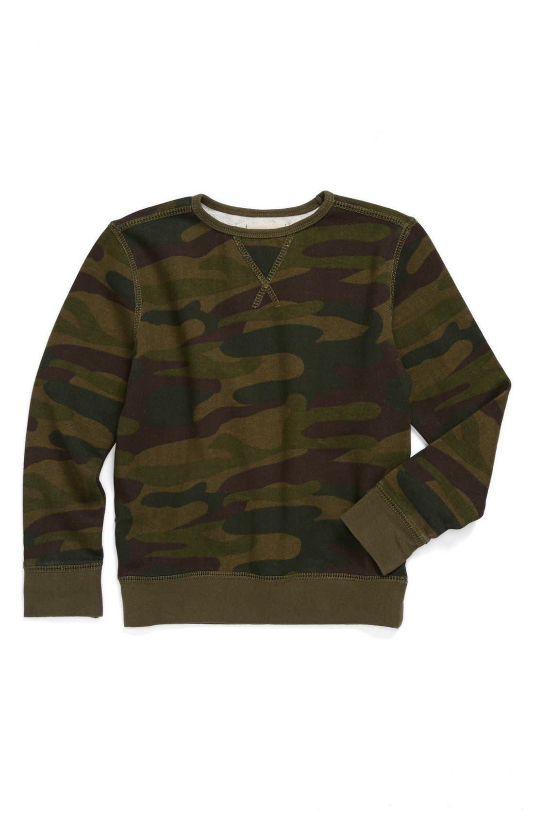 'Camo' Sweatshirt,                             Main thumbnail 1, color,                             Olive