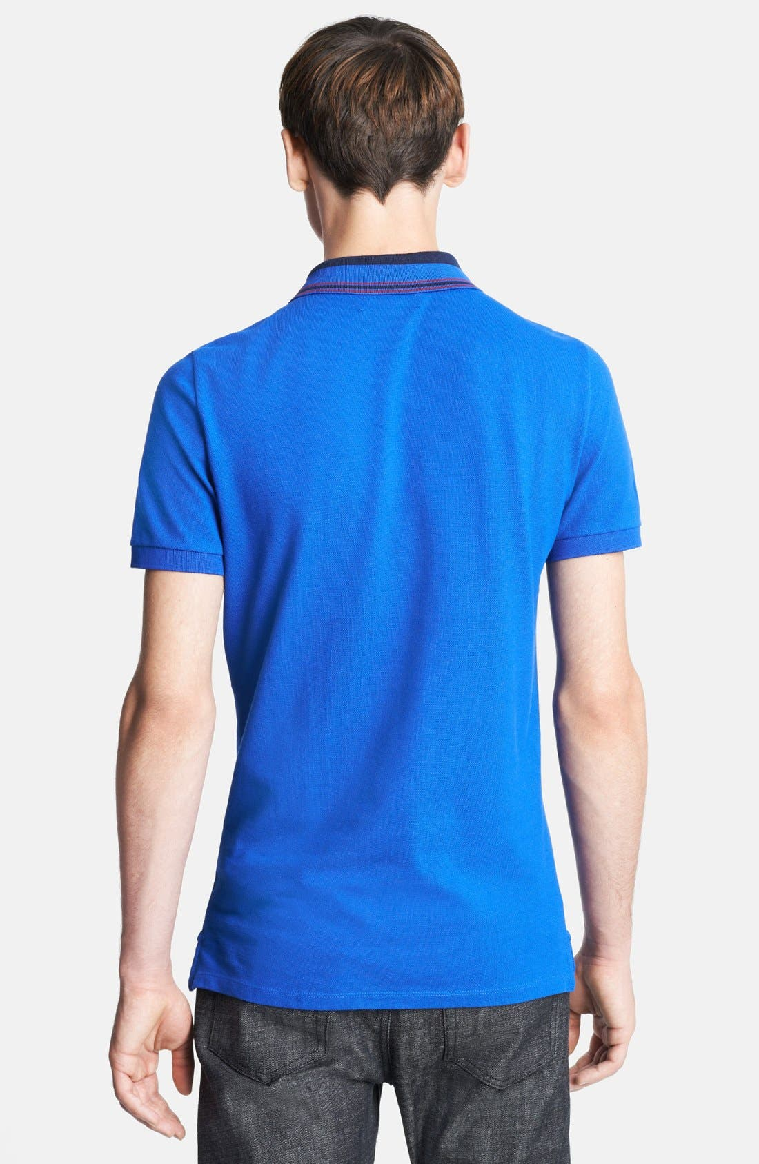 London 'Adler' Check Placket Cotton Polo,                             Alternate thumbnail 2, color,                             Bright Blue