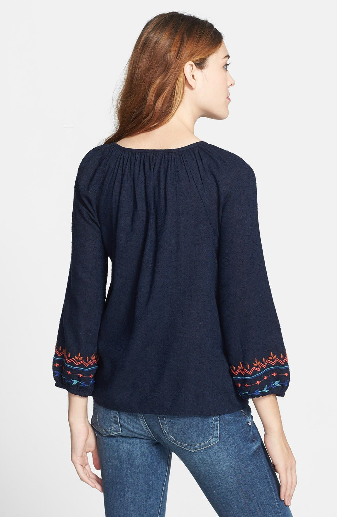 Alternate Image 2  - Lucky Brand Embroidered Silk & Cotton Peasant Top