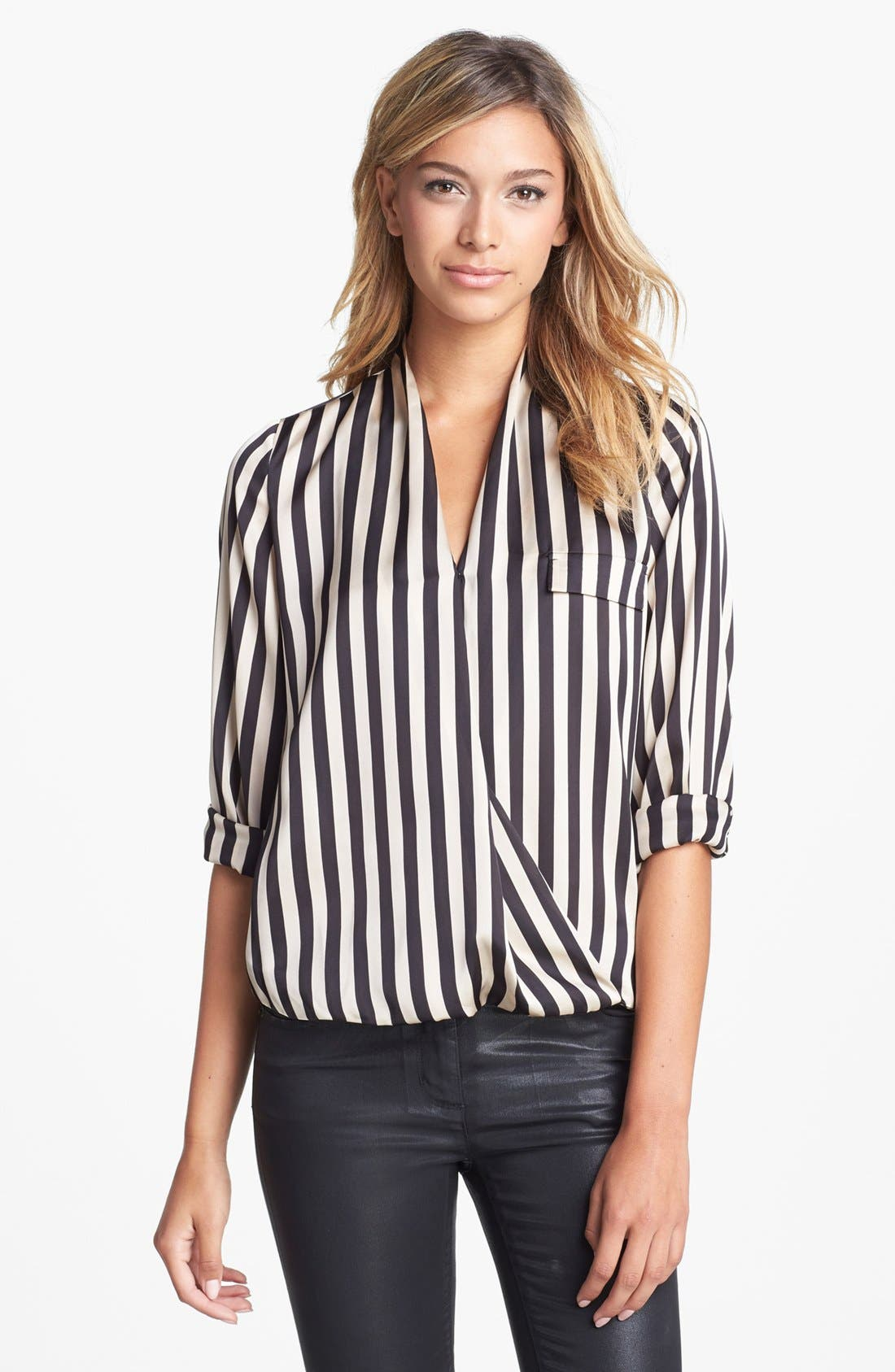 Alternate Image 1 Selected - Vince Camuto Faux Wrap Stripe Blouse