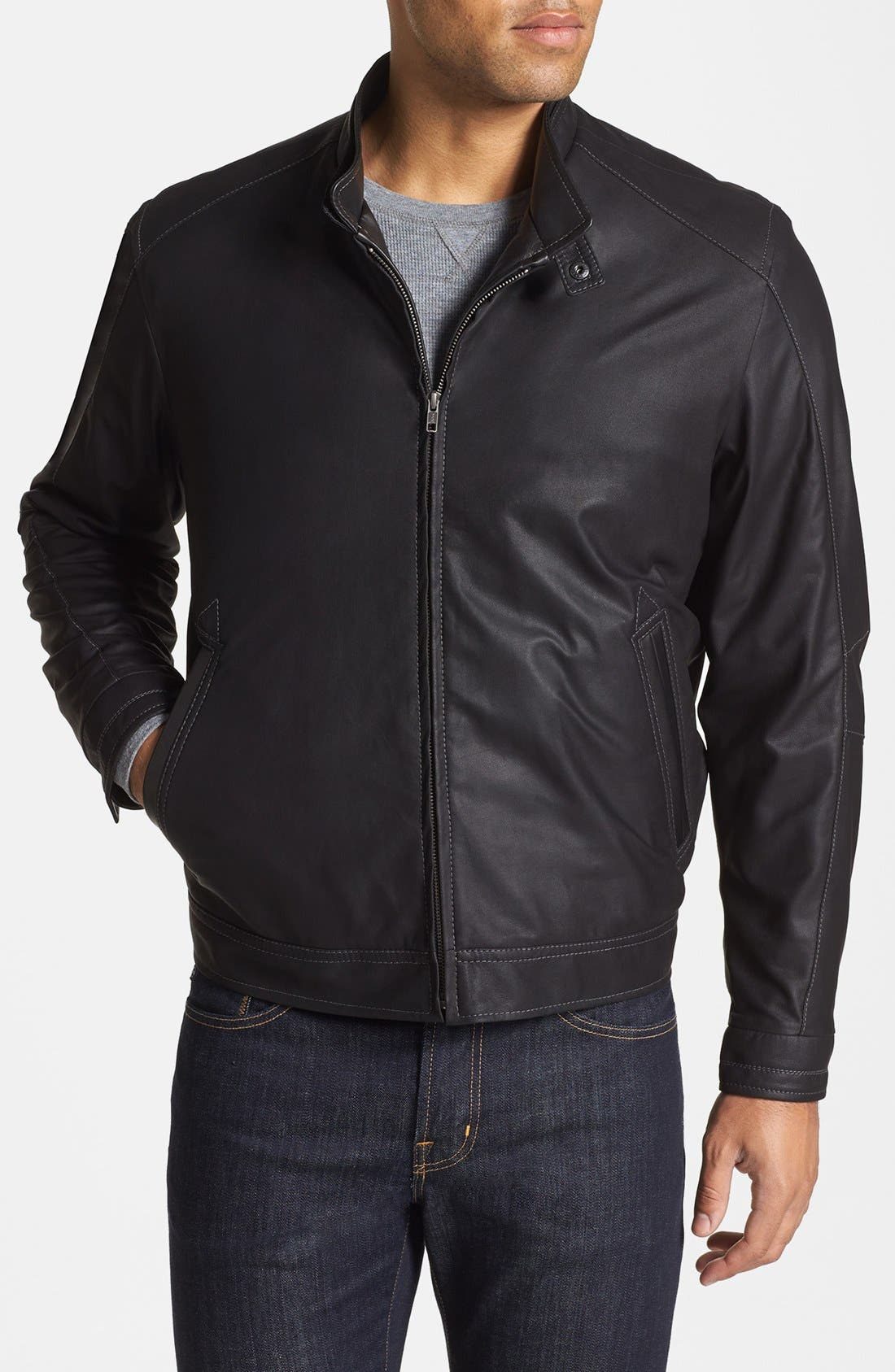 Main Image - Remy Leather Zip Front Leather Jacket