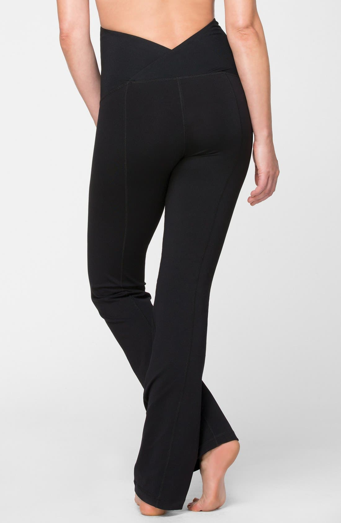 Active Maternity Pants with Crossover Panel,                             Alternate thumbnail 2, color,                             Jet Black