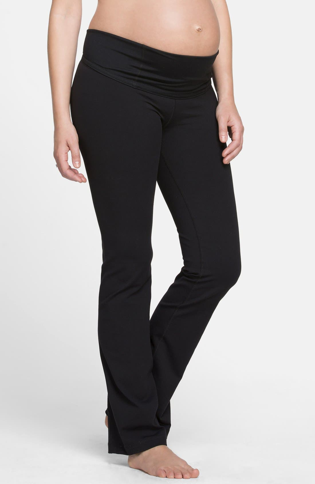 Active Maternity Pants with Crossover Panel,                             Alternate thumbnail 3, color,                             Jet Black