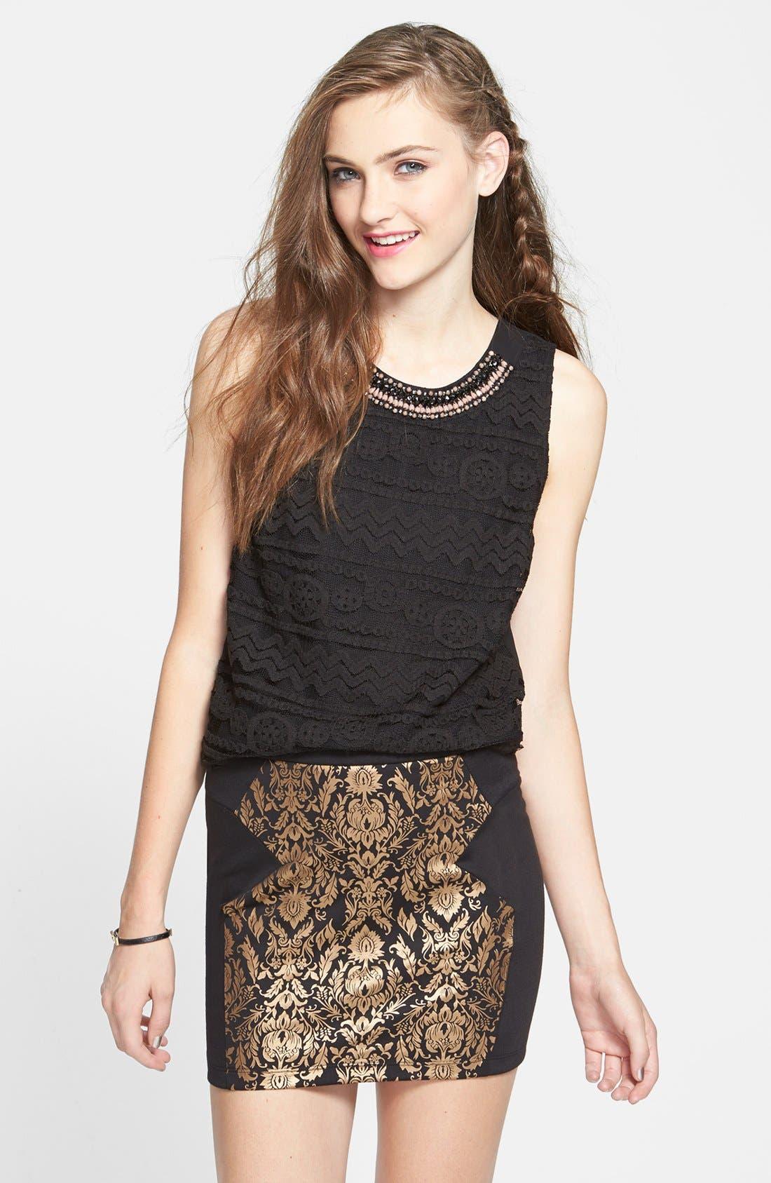 Main Image - Lush Metallic Damask Miniskirt (Juniors) (Online Only)