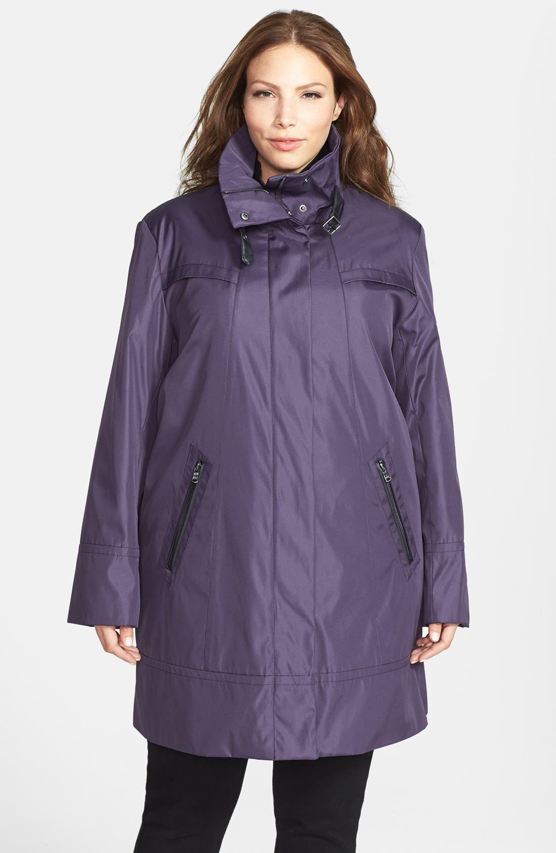 Alternate Image 1 Selected - Marc New York by Andrew Marc 'Carmine' A-Line Raincoat (Plus Size)