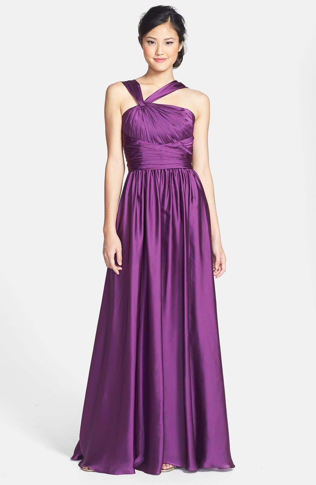 Main Image - Monique Lhuillier Bridesmaids Twist Shoulder Satin Chiffon Gown (Nordstrom Exclusive)