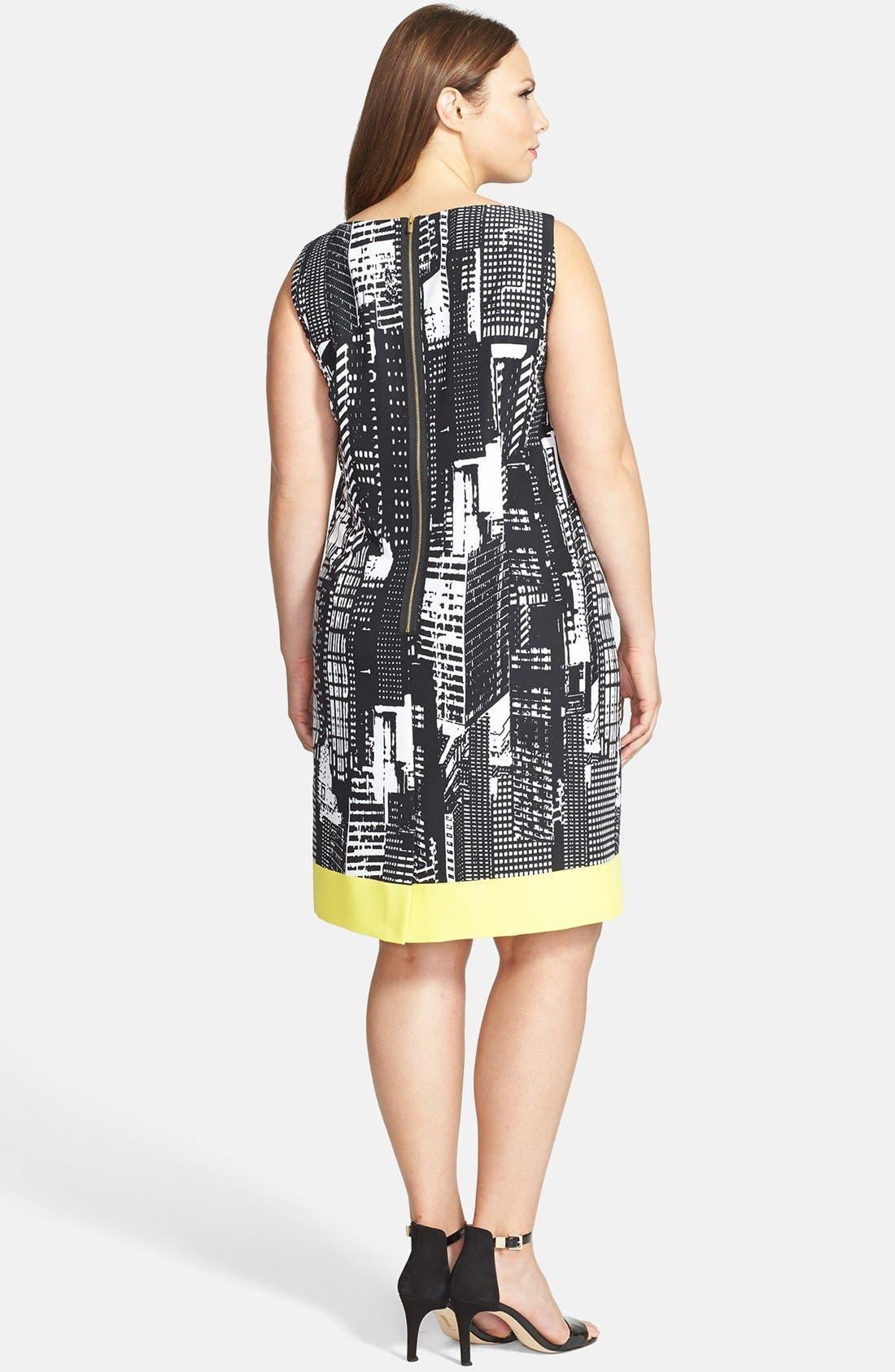 Alternate Image 2  - Tahari Print Sleeveless Shift Dress (Plus)