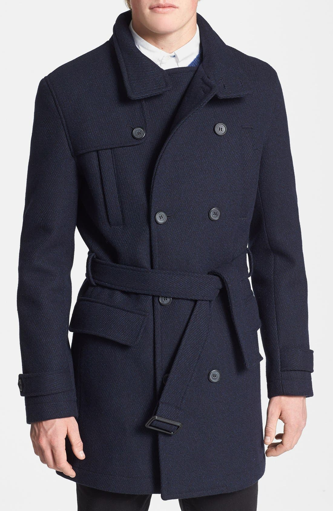 Double Breasted Wool Blend Trench Coat,                             Main thumbnail 1, color,                             Navy