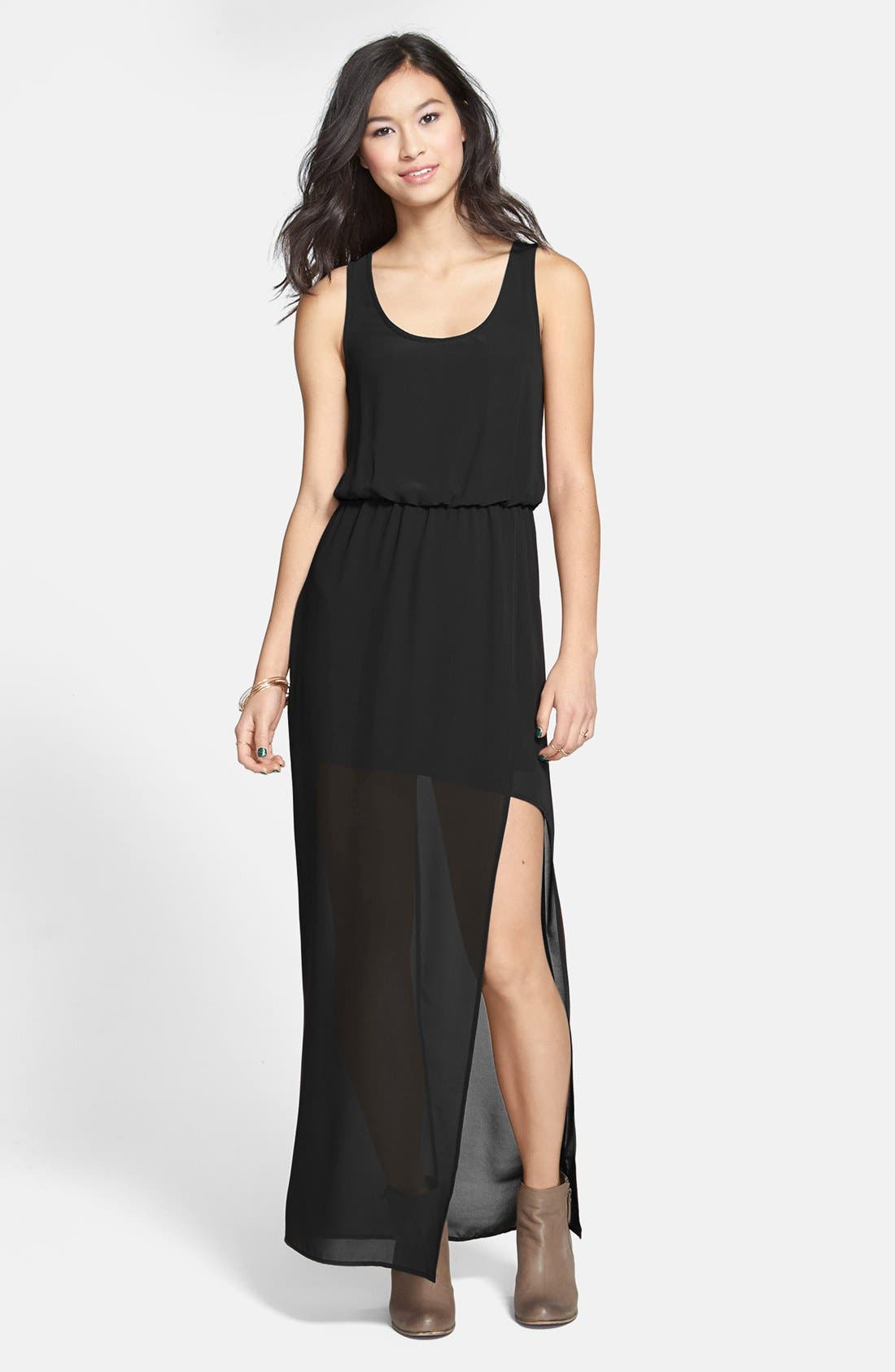 Alternate Image 1 Selected - Faux Wrap Chiffon Maxi Dress
