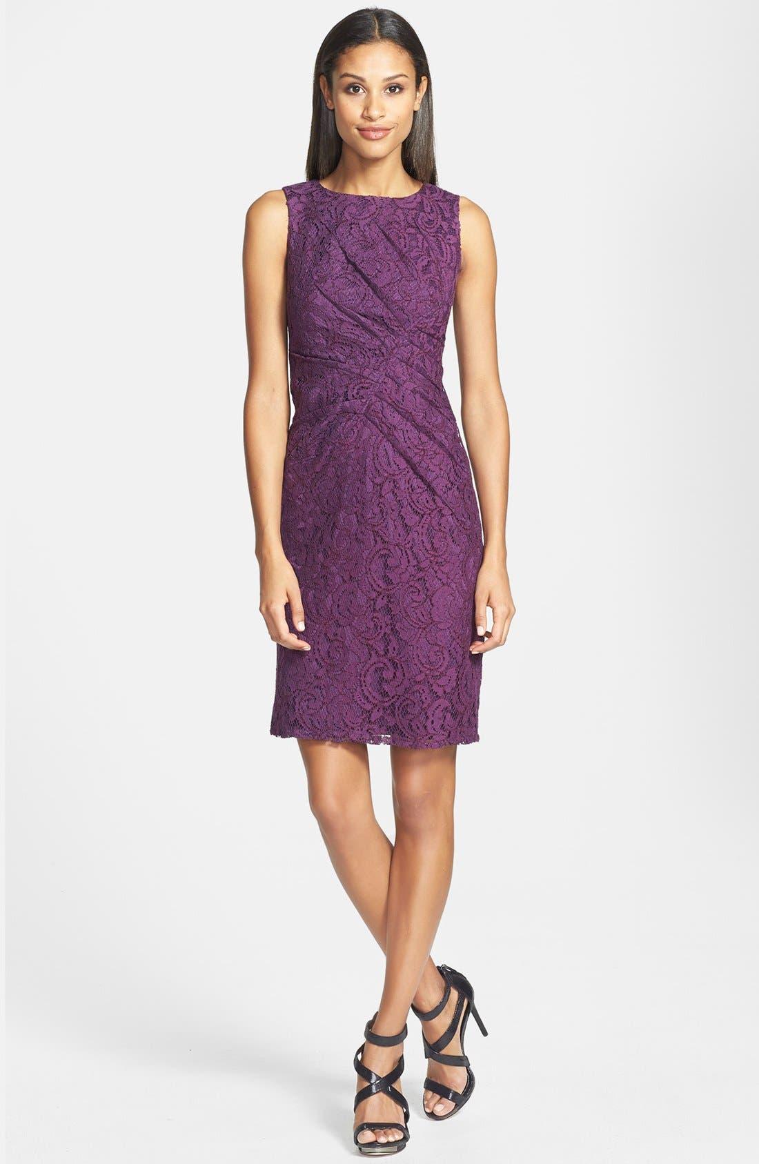 Alternate Image 1 Selected - Adrianna Papell Sleeveless Pleated Lace Sheath Dress