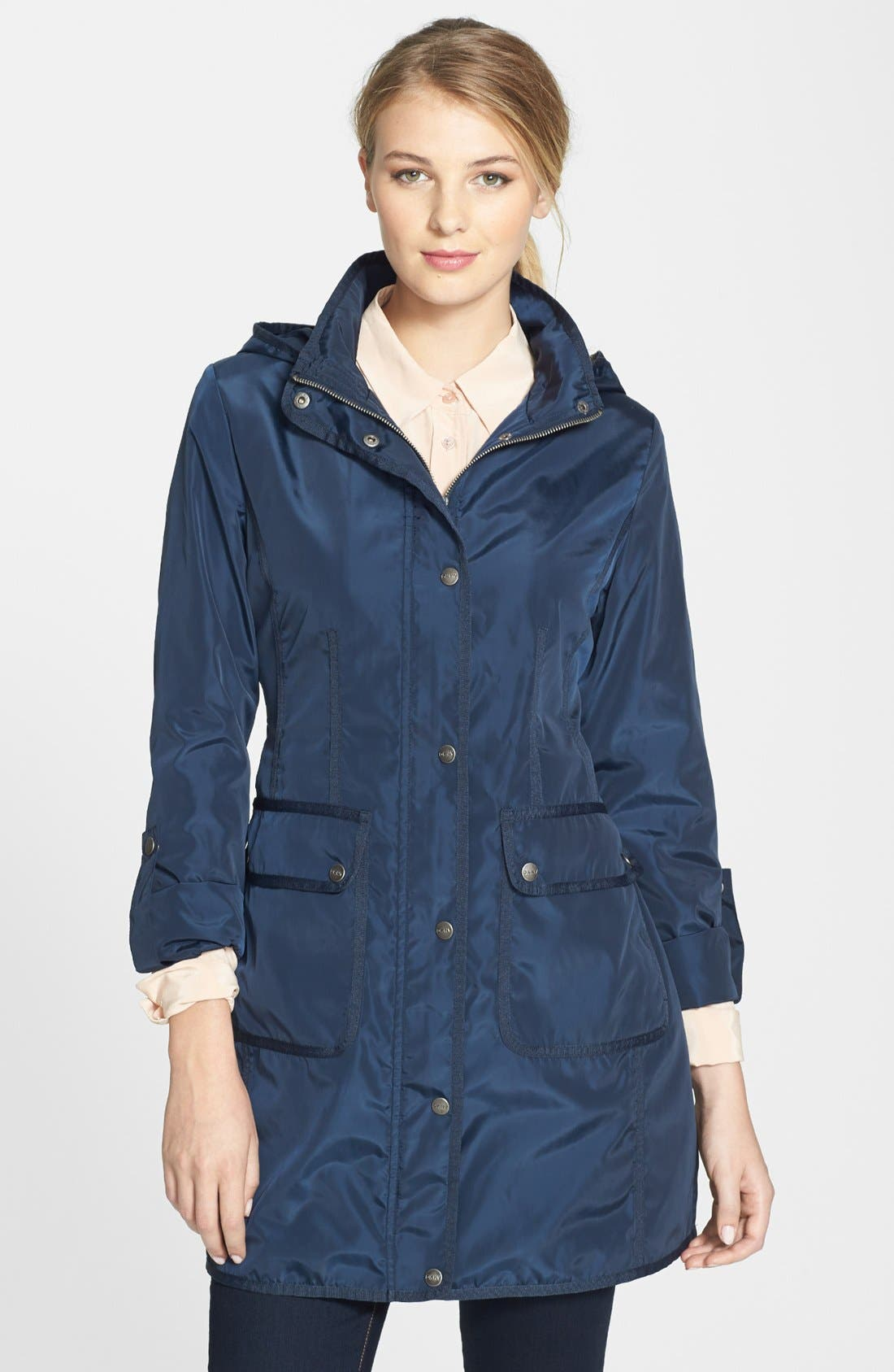 Main Image - DKNY Grosgrain Trim Hooded Raincoat