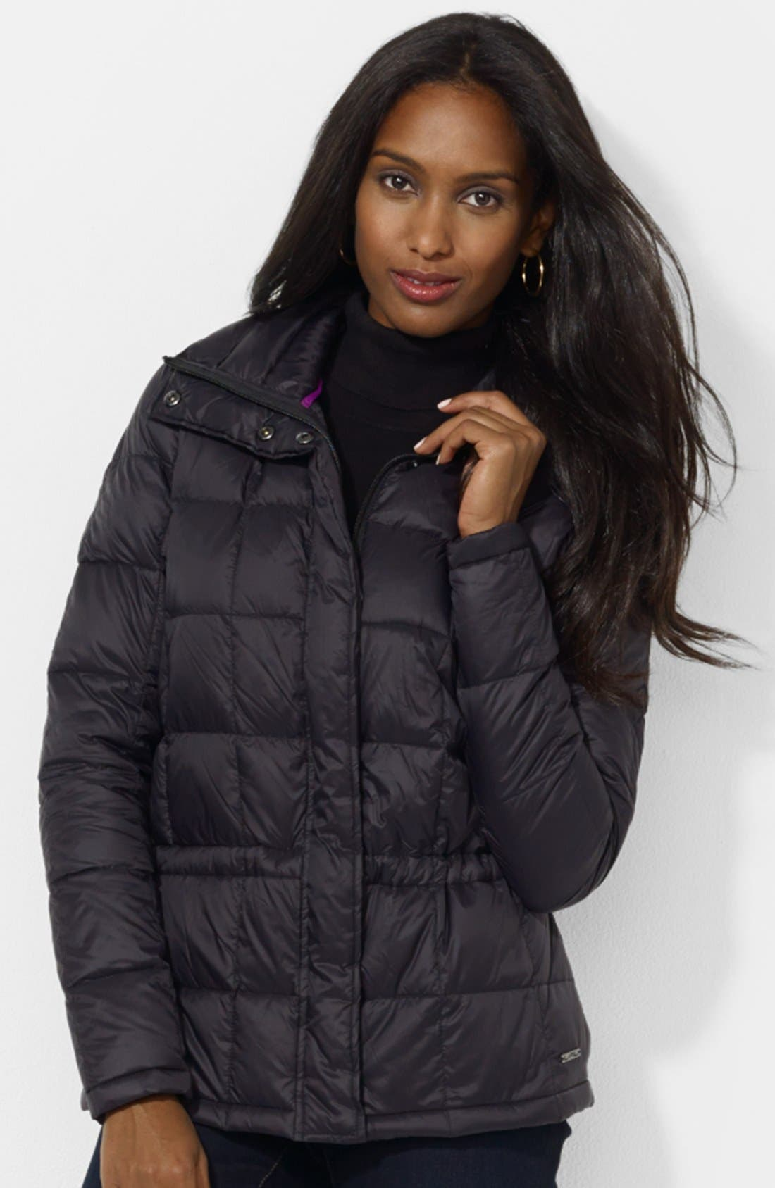 Alternate Image 1 Selected - Lauren Ralph Lauren Box Quilted Down Jacket (Petite)