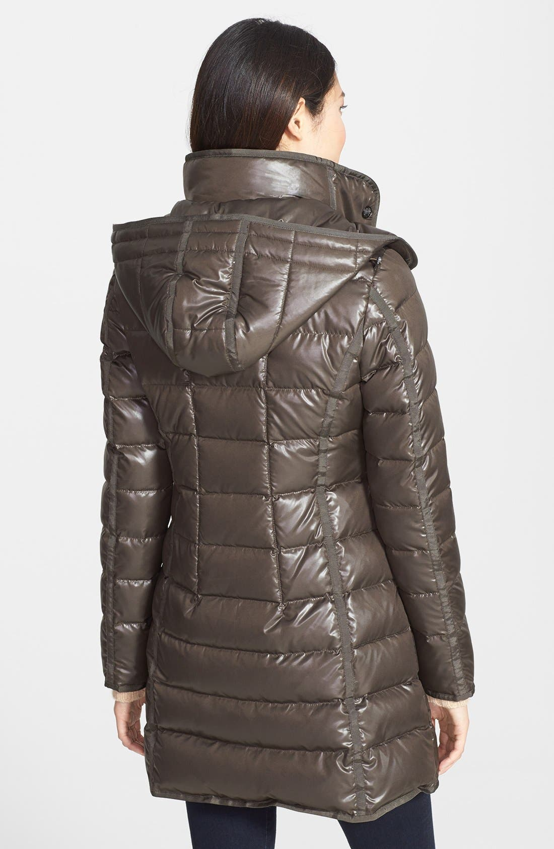 Alternate Image 2  - Vince Camuto Grosgrain Trim Down & Feather Coat with Detachable Hood
