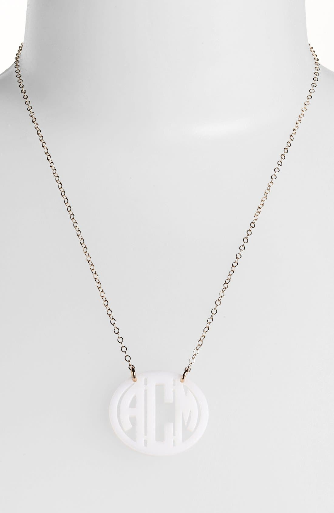 MOON AND LOLA Small Personalized Monogram Pendant Necklace (Nordstrom Exclusive) in Snow/ Gold
