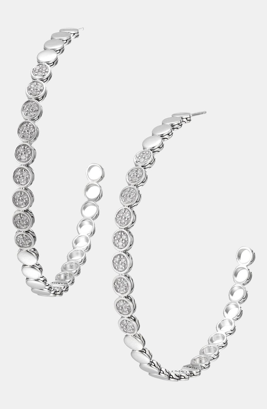 Main Image - John Hardy 'Dot' Extra Large Pavé Diamond Hoop Earrings