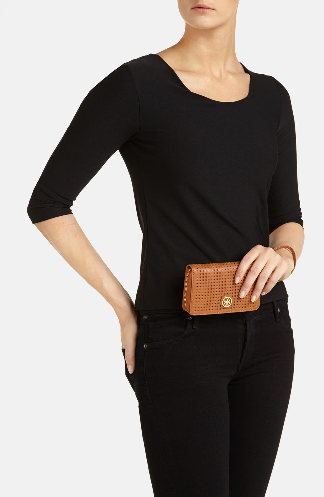 Alternate Image 4  - Tory Burch 'Robinson - Perf' Zip Continental Wallet