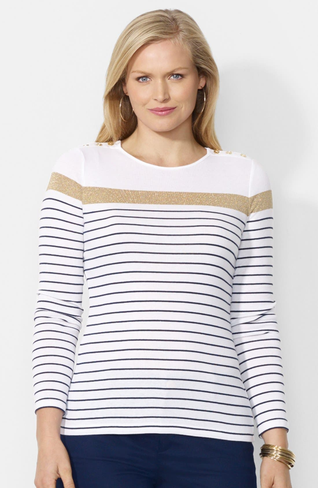 Alternate Image 1 Selected - Lauren Ralph Lauren Button Shoulder Stripe Top (Plus Size)