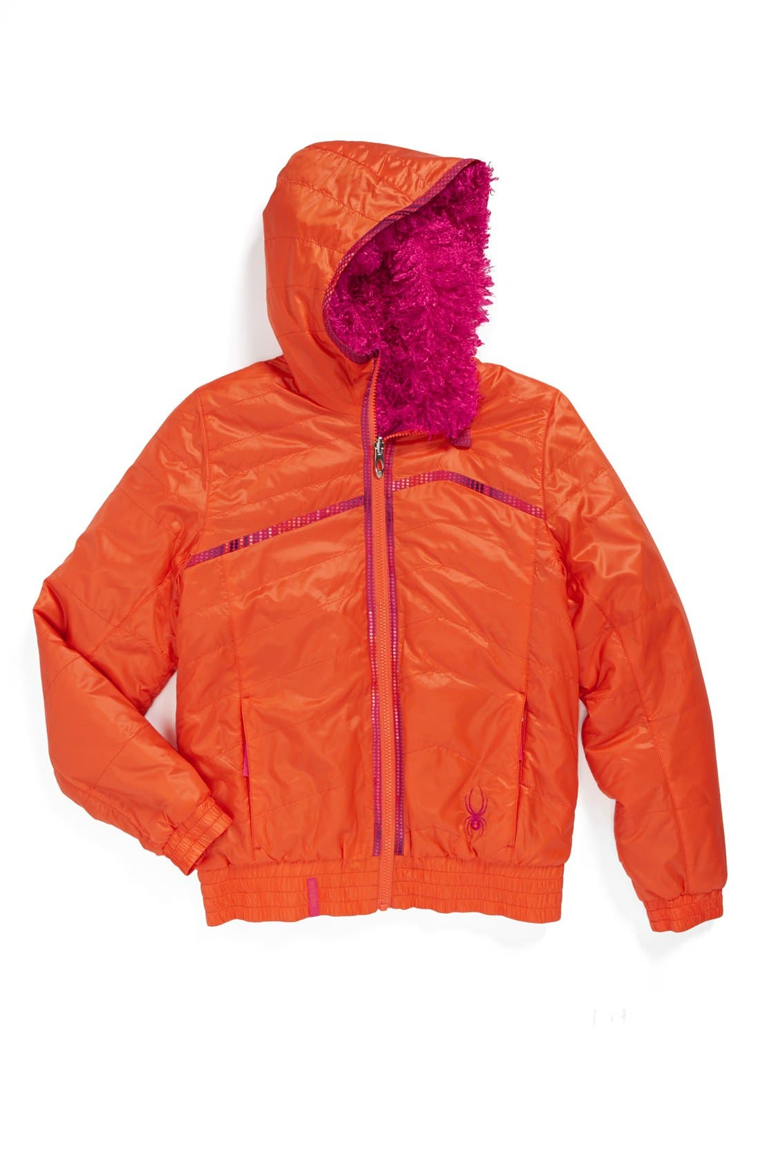 Alternate Image 1 Selected - Spyder High-Pile Reversible Quilted Fleece Jacket (Big Girls)