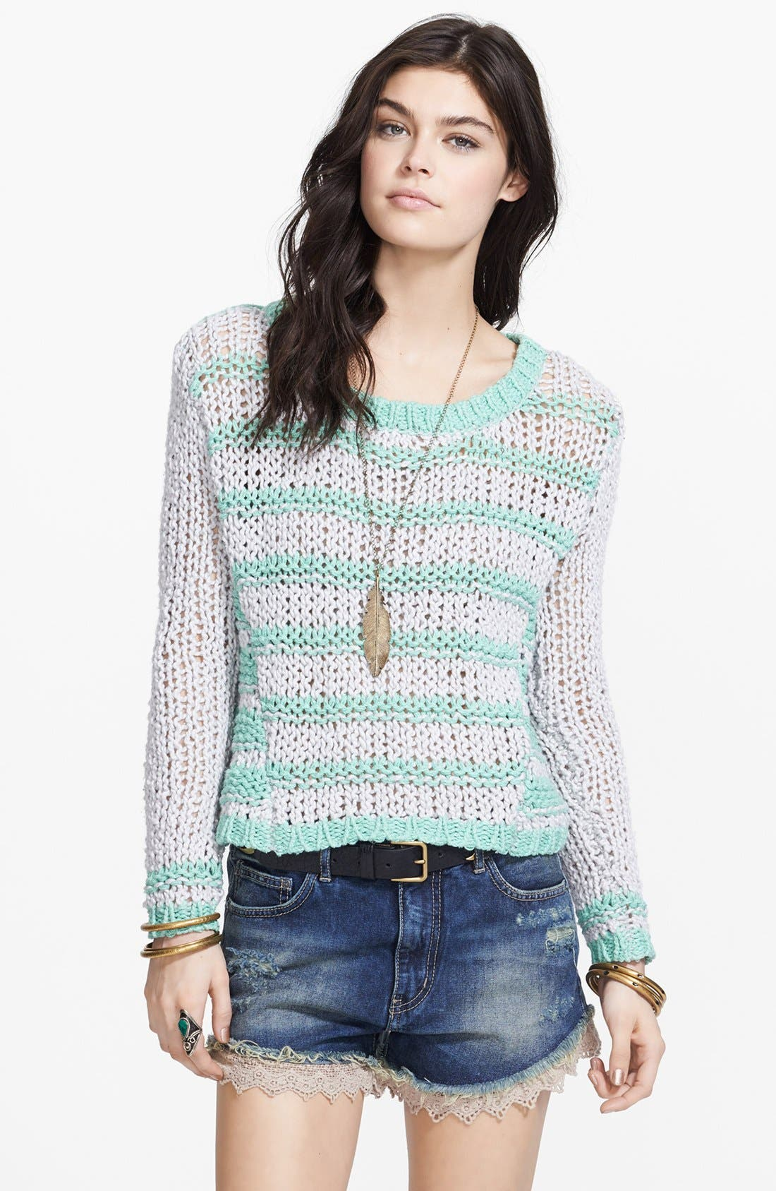 Alternate Image 1 Selected - Free People 'Provence' Stripe Open Knit Pullover