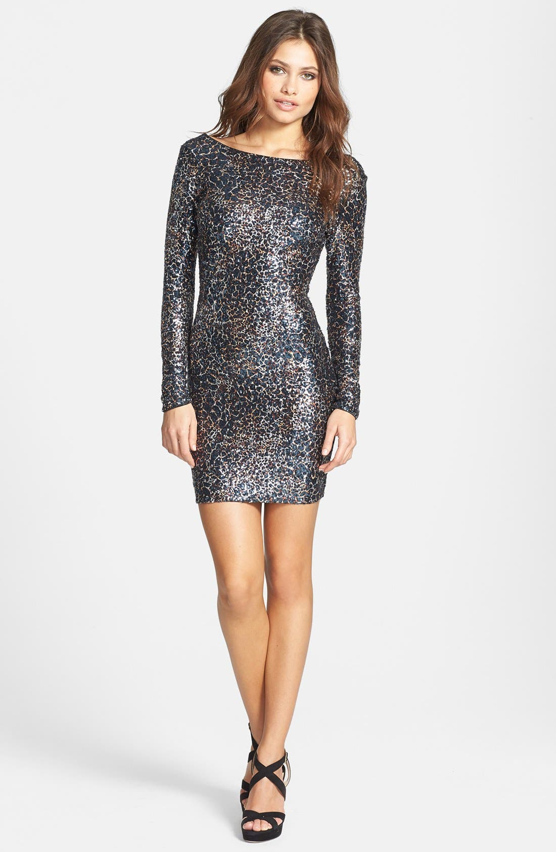 Alternate Image 3  - Dress the Population 'Lola' Foiled Sequin Body-Con Dress