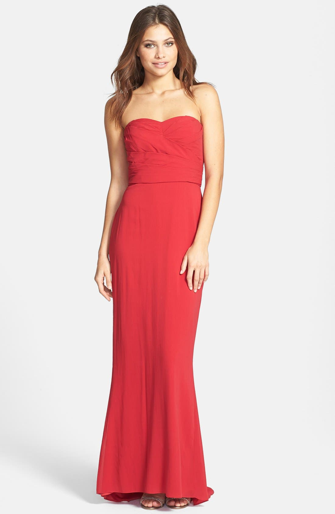 Alternate Image 1 Selected - Jill Jill Stuart Pleated Stretch Silk Gown