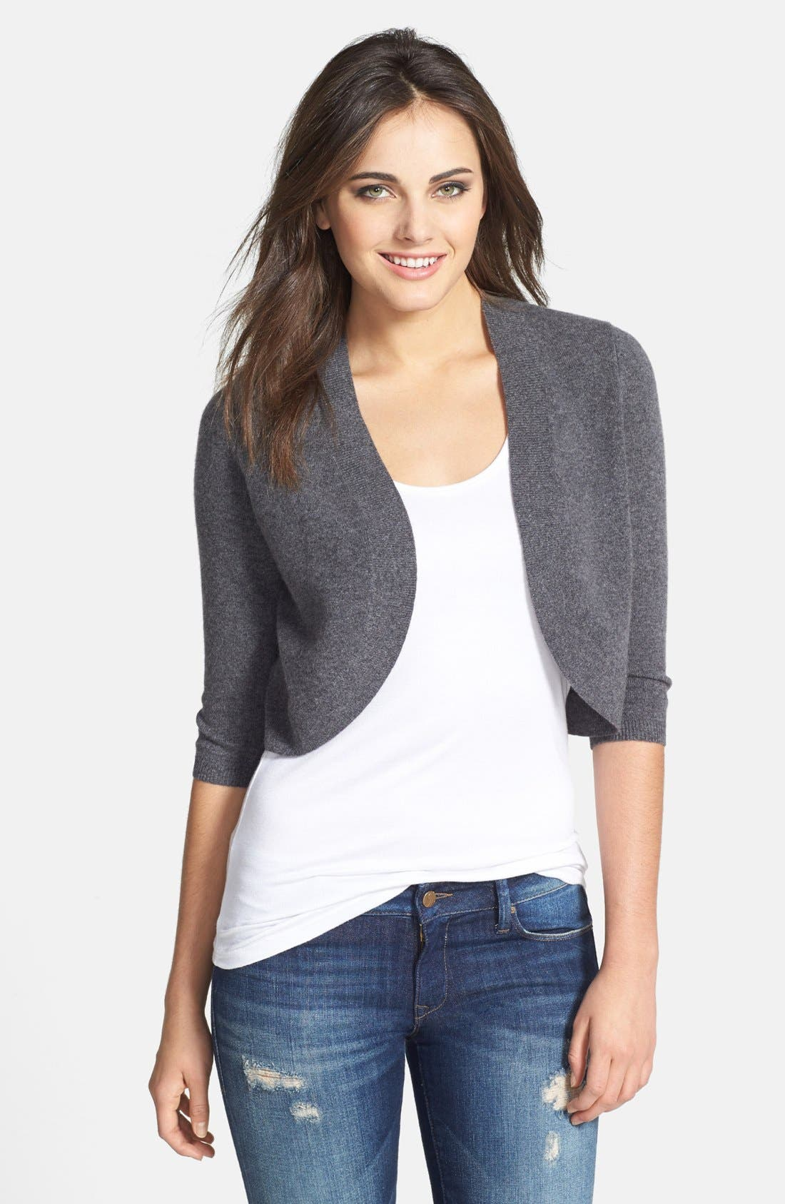 Wool & Cashmere Shrug,                         Main,                         color, Charcoal