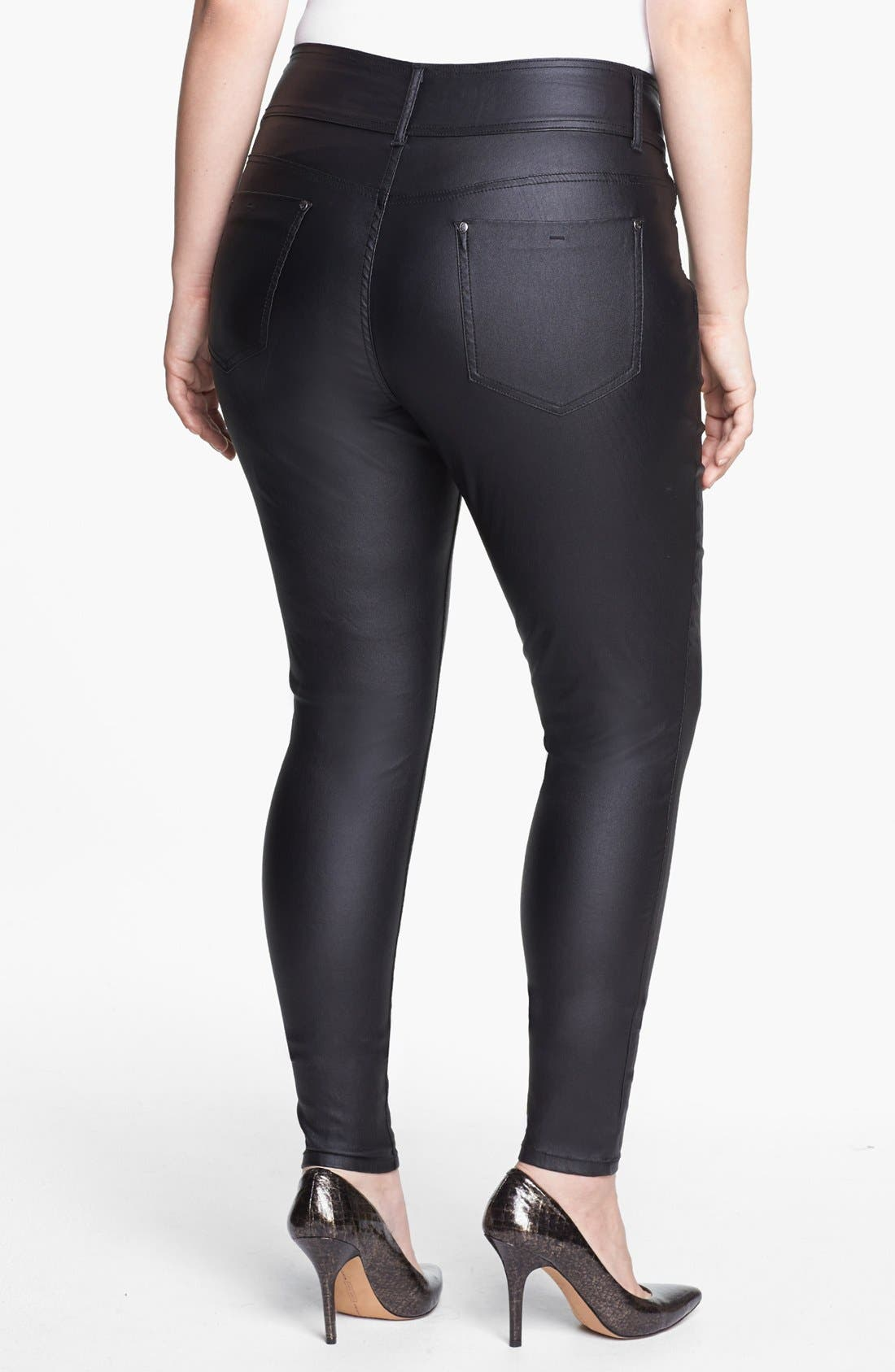 Alternate Image 2  - City Chic Coated Stretch Jeans (Plus Size)