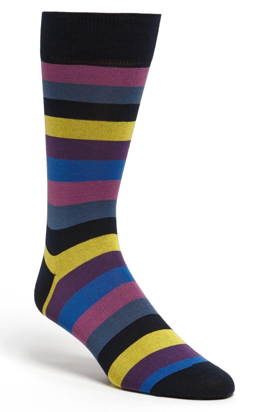 Alternate Image 1 Selected - Bugatchi Stripe Socks
