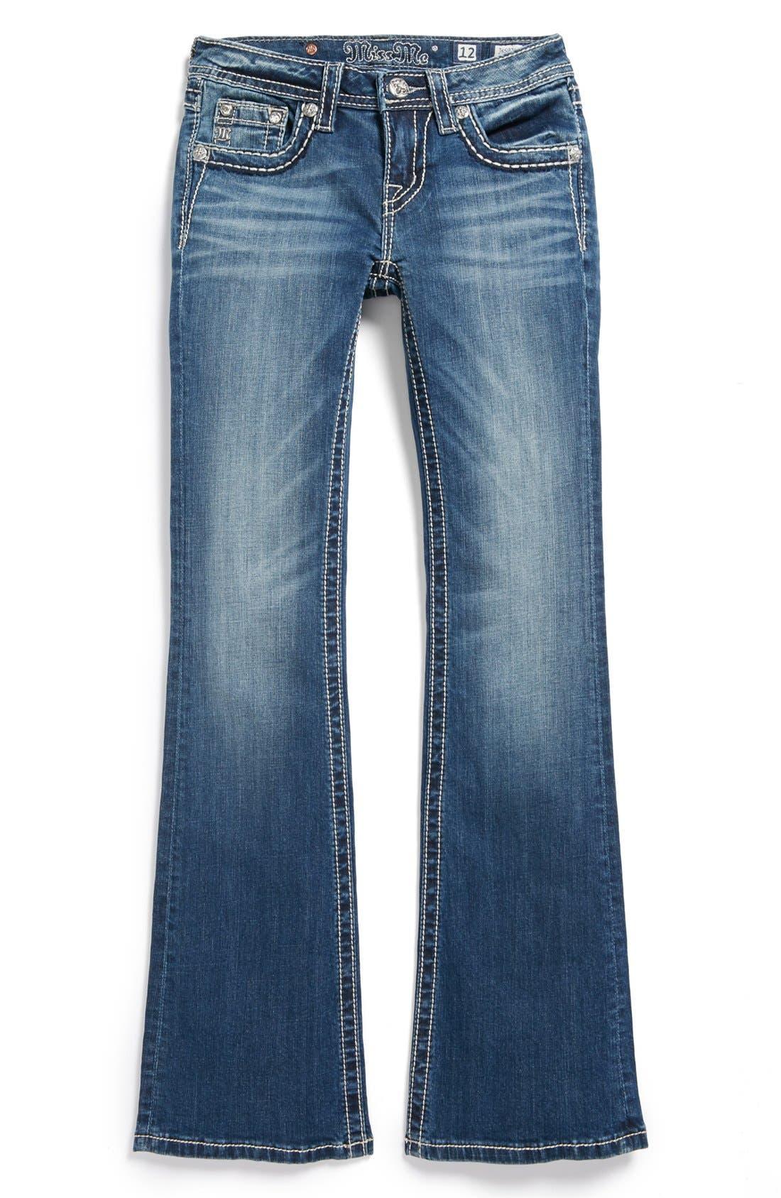 Alternate Image 2  - Miss Me 'Fleur de Lis' Skinny Jeans (Big Girls)