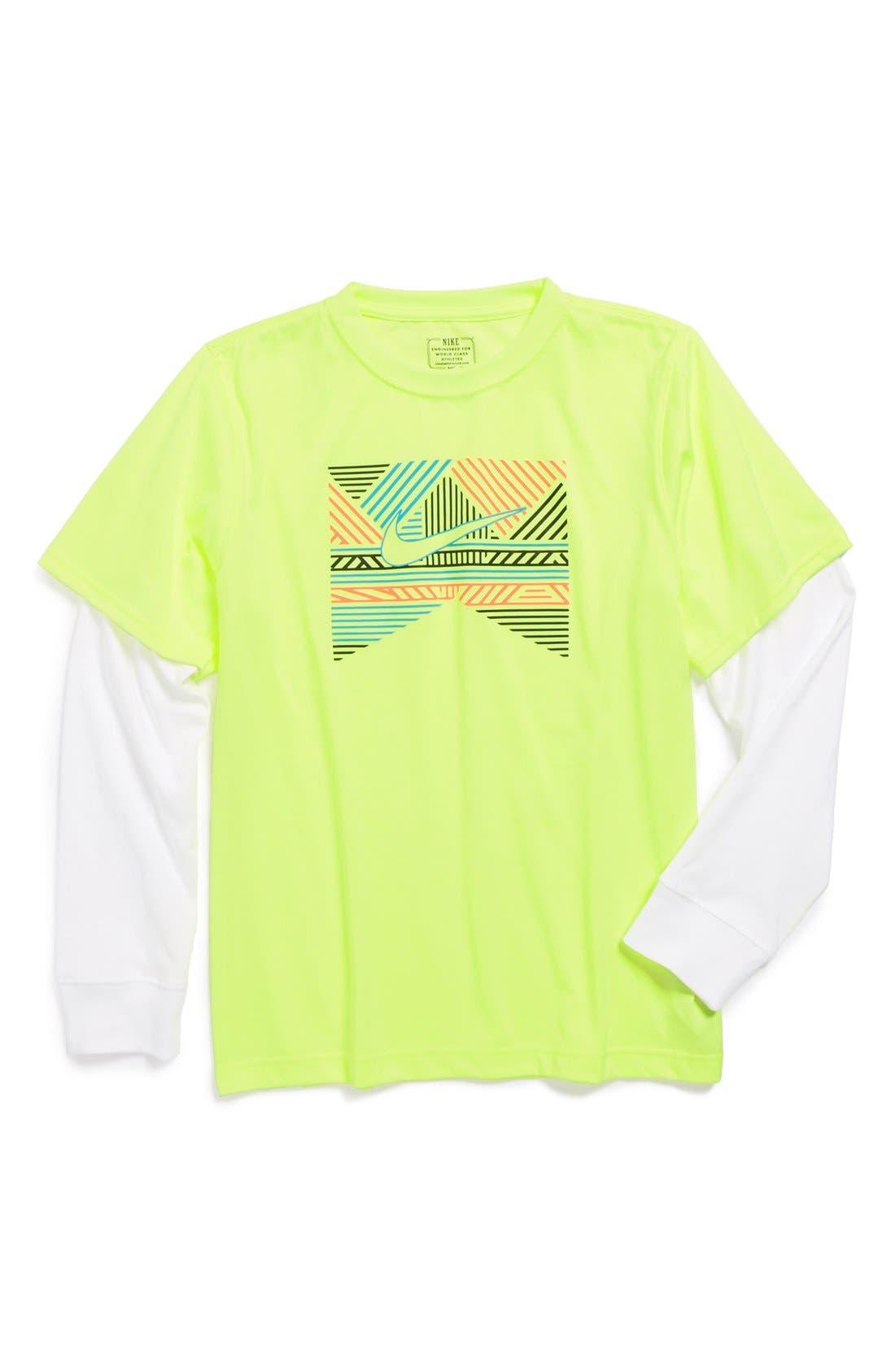 Main Image - Nike Geometric Ribbon Logo Long Sleeve Cotton T-Shirt (Big Boys)