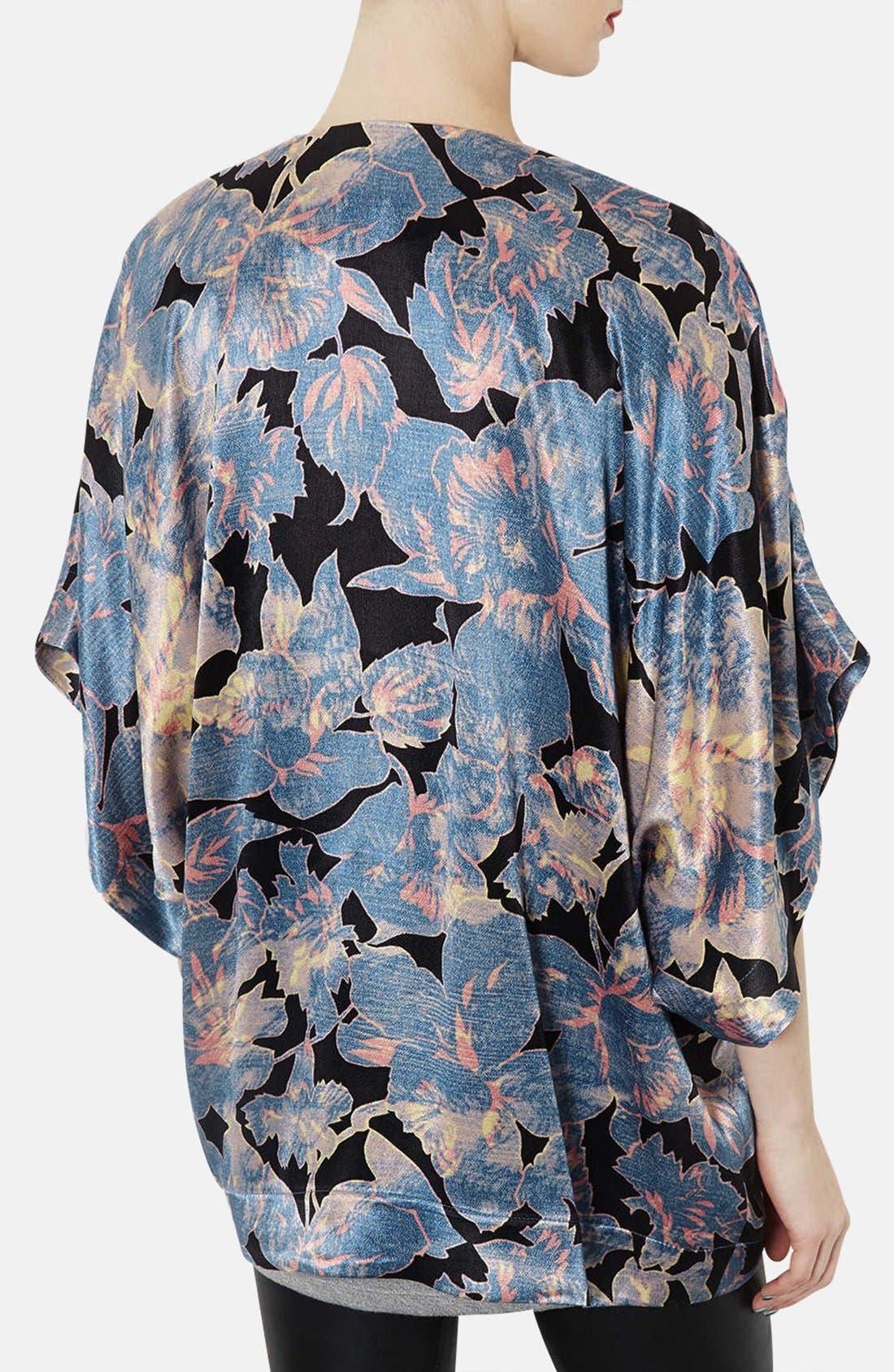 Alternate Image 2  - Topshop 'Chateau Femme' Print Satin Kimono Jacket