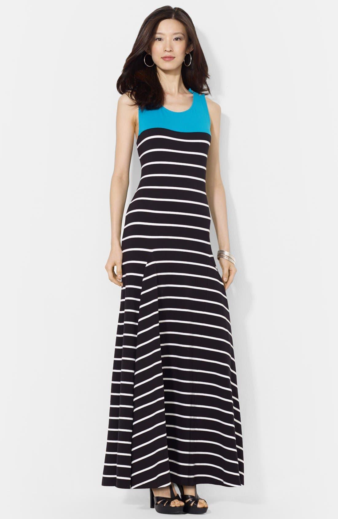 Main Image - Lauren Ralph Lauren Colorblock Stripe Jersey Maxi dress