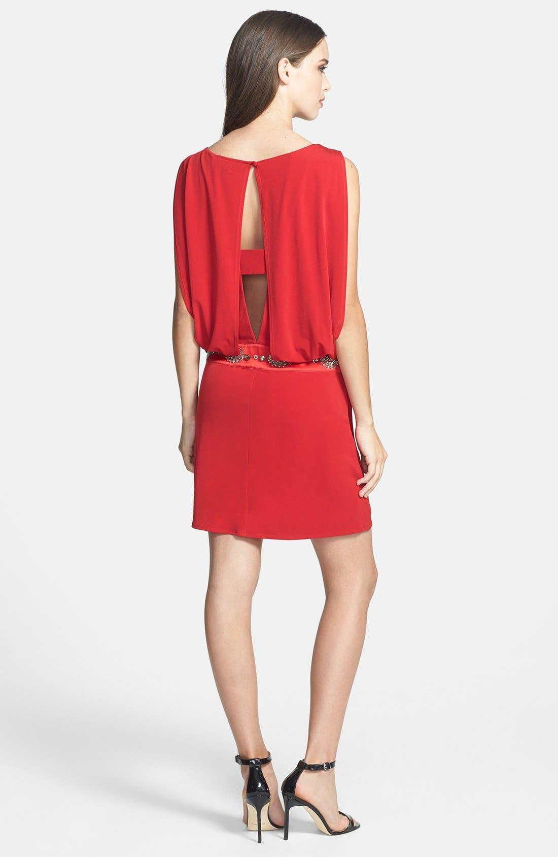Alternate Image 2  - Laundry by Shelli Segal Jersey Blouson Dress with Back Keyhole