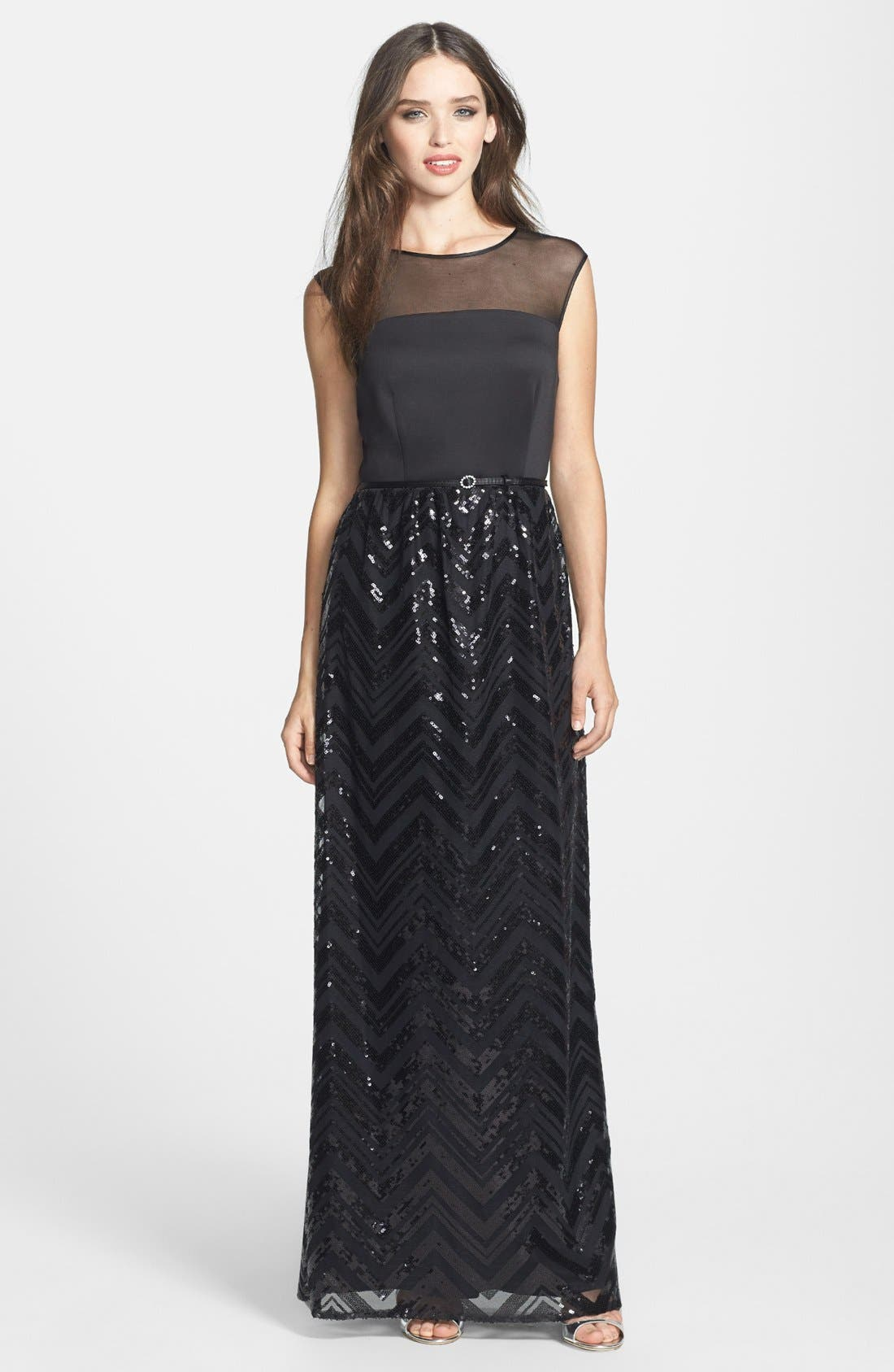 Main Image - Ellen Tracy Illusion Yoke Sequin Stripe Long Dress