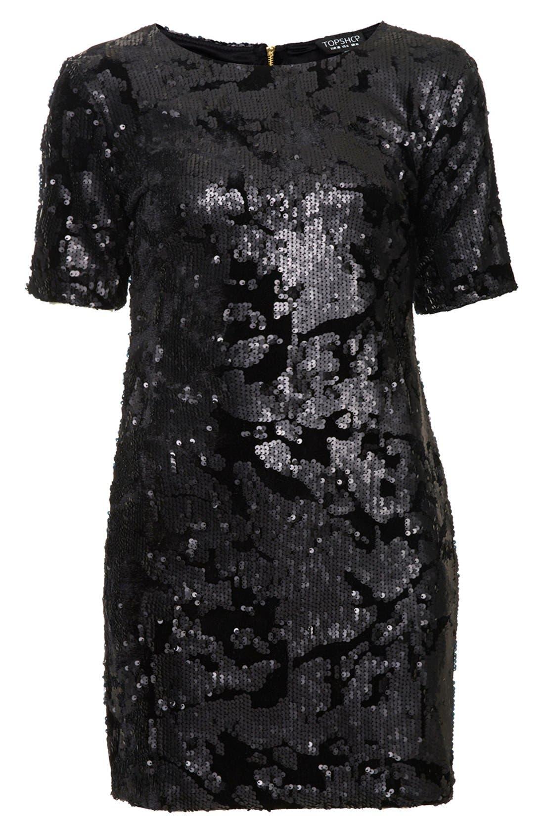 Alternate Image 3  - Topshop Sequin Velvet Shift Dress