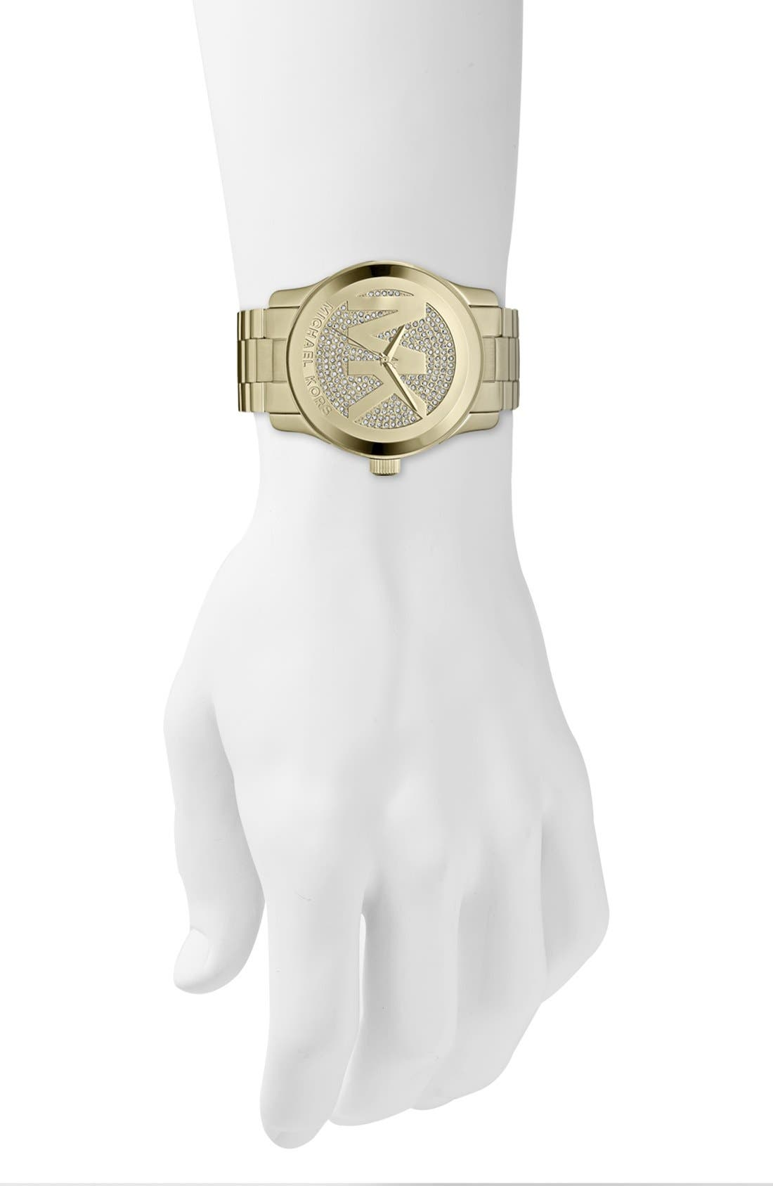 Alternate Image 4  - Michael Kors 'Runway' Logo Dial Bracelet Watch, 45mm