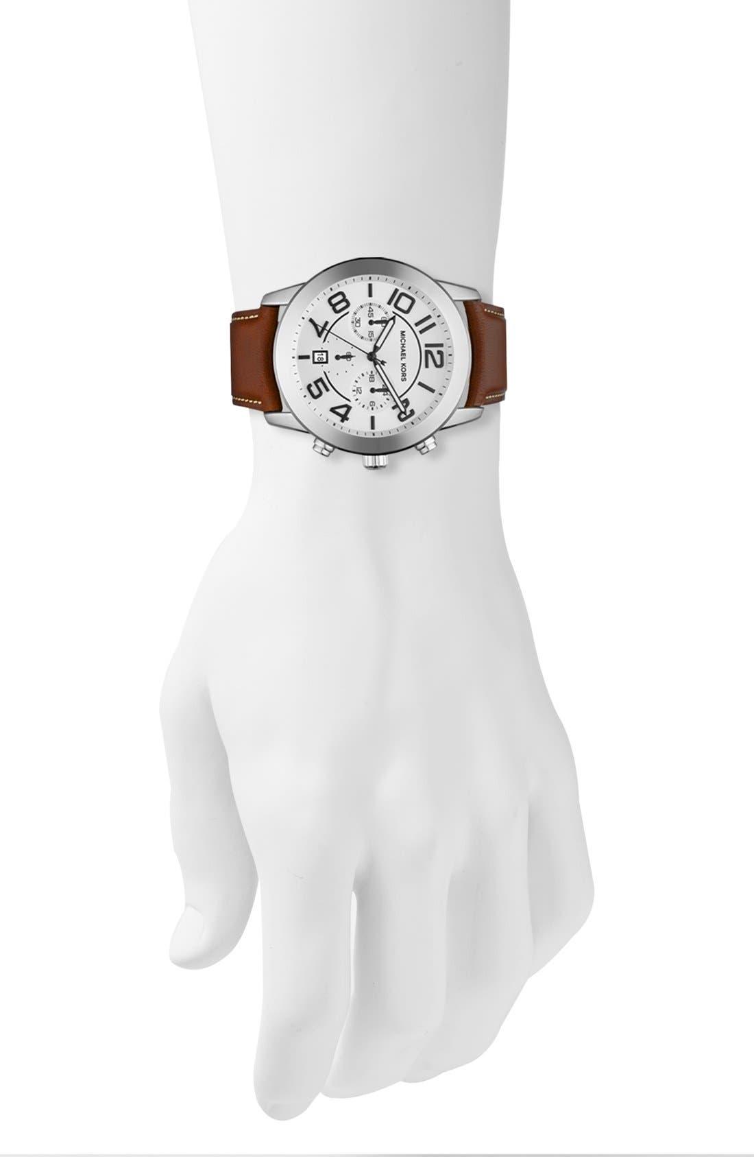 Alternate Image 3  - Michael Kors 'Mercer' Large Chronograph Leather Strap Watch, 45mm