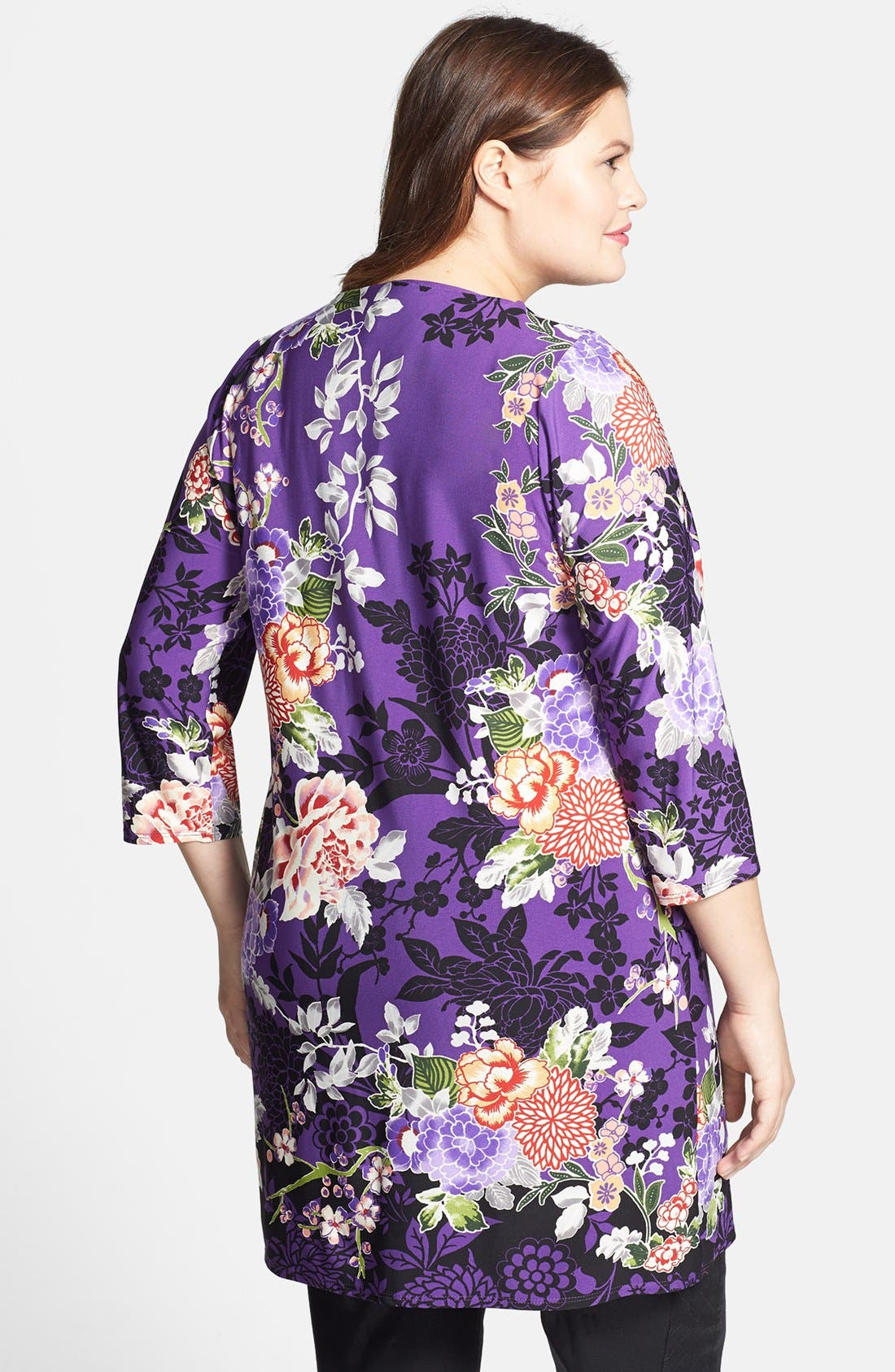 Alternate Image 2  - Evans Floral Print Tunic (Plus Size)